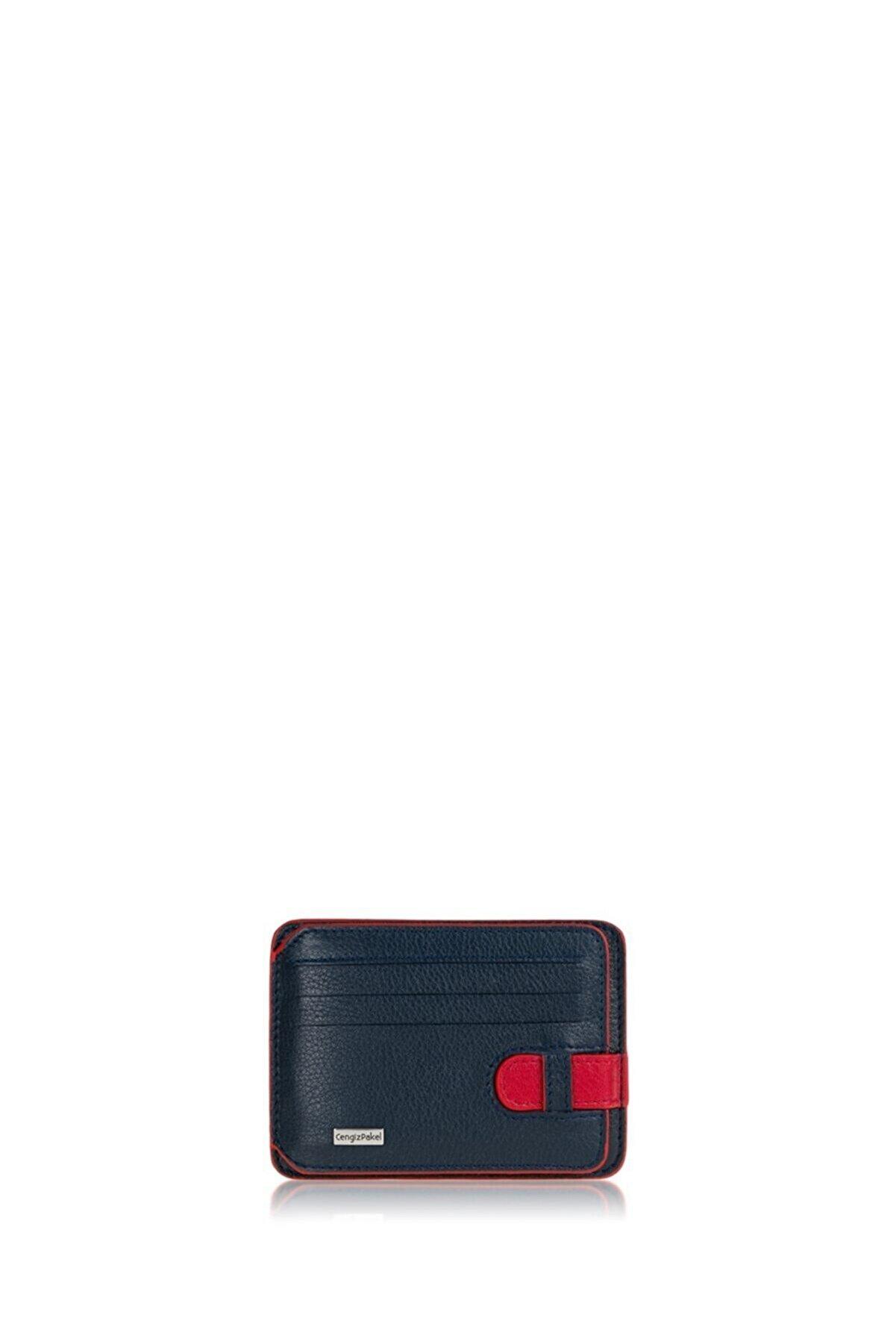 Cengiz Pakel Hakiki Deri Kartlık 2404-lacivert-kırmızı