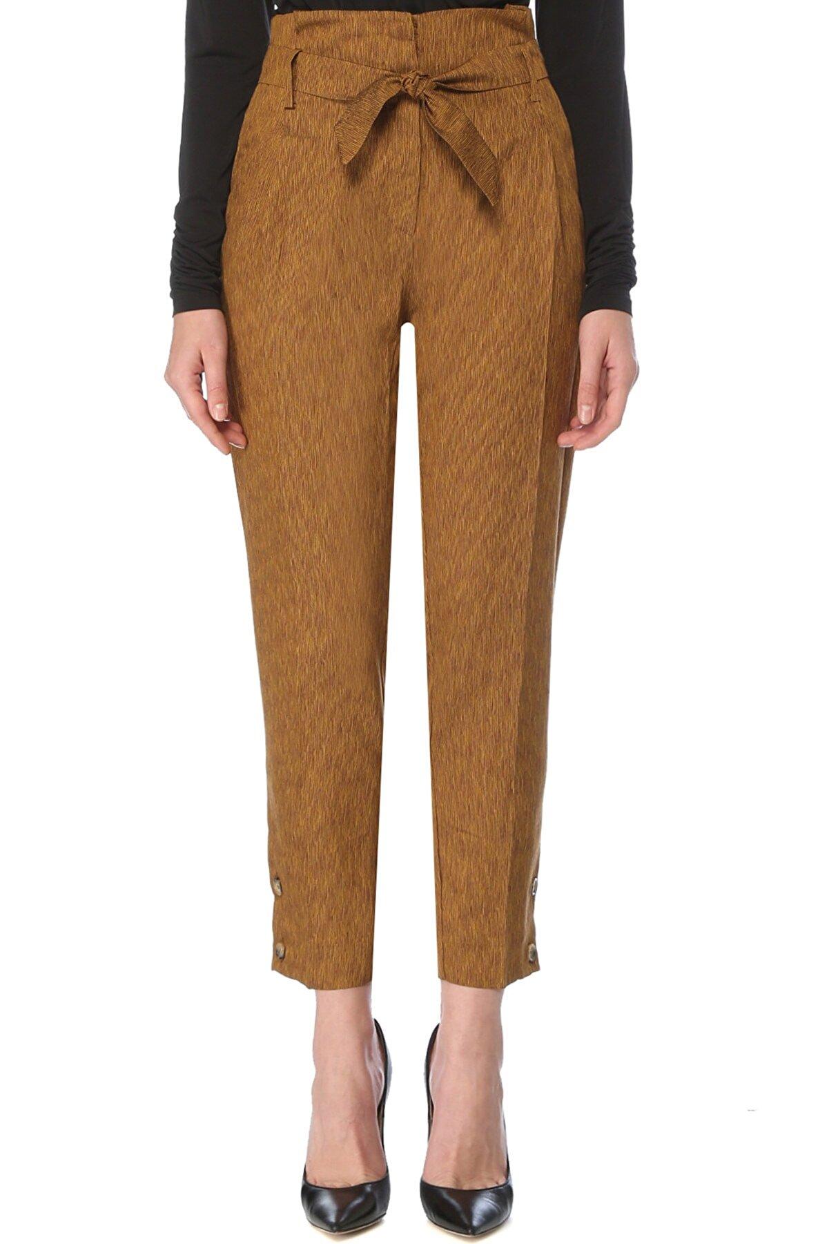 Network Kadın Hardal Regular Fit Kamel Yüksek Bel Pilili Pantolon 1077180