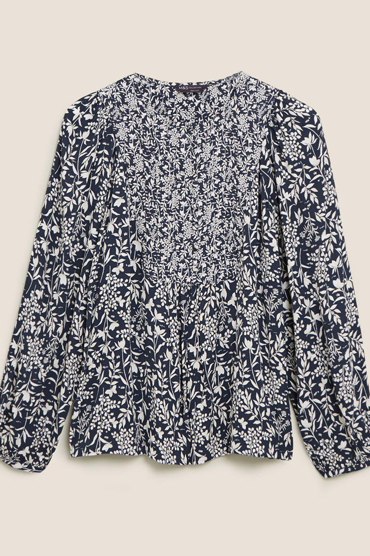 Marks & Spencer Kadın Lacivert Çiçek Desenli Uzun Kollu Bluz T43003808