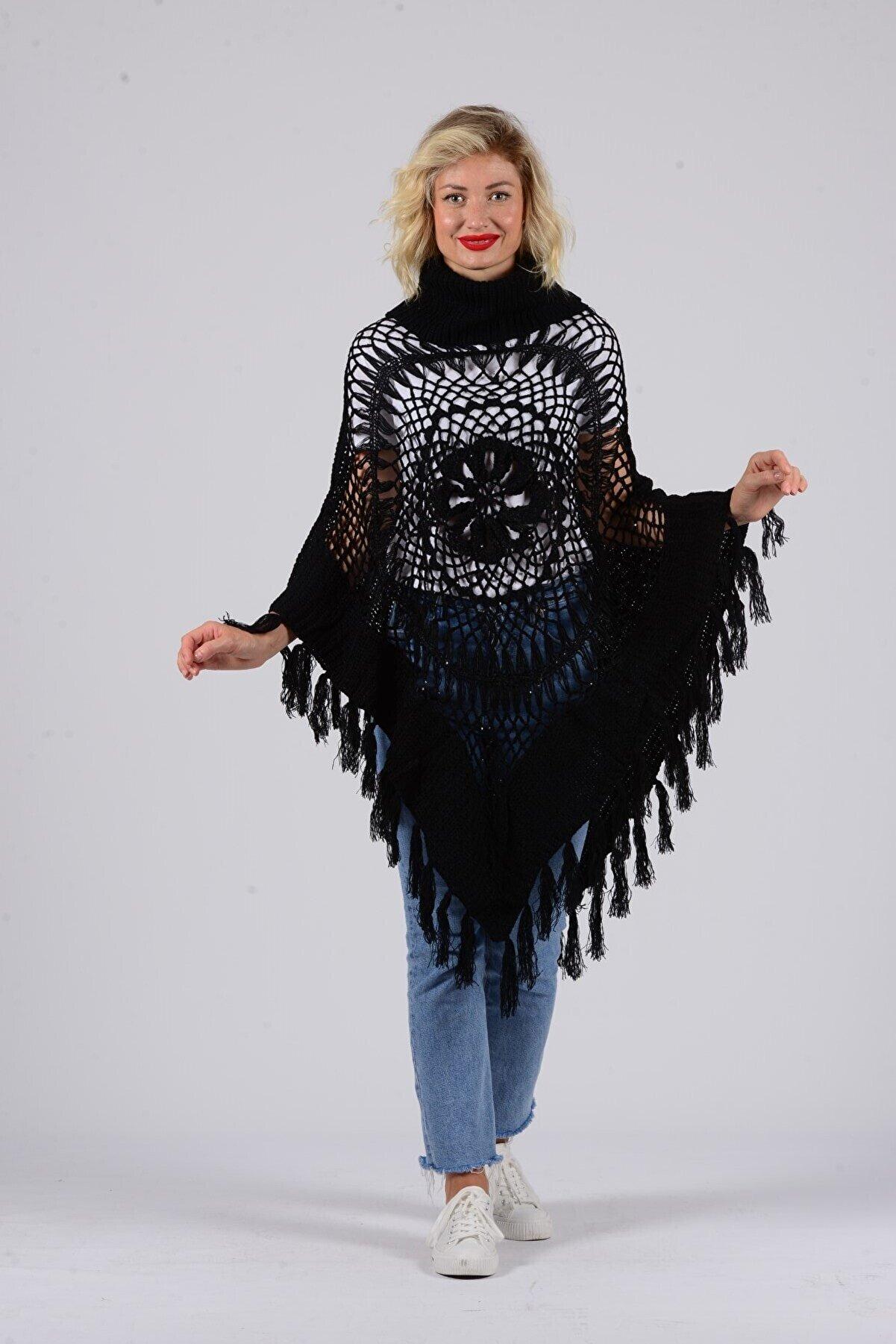 Gezgin tekstil ve aksesuar Kadın Siyah Püsküllü Pullu Panço