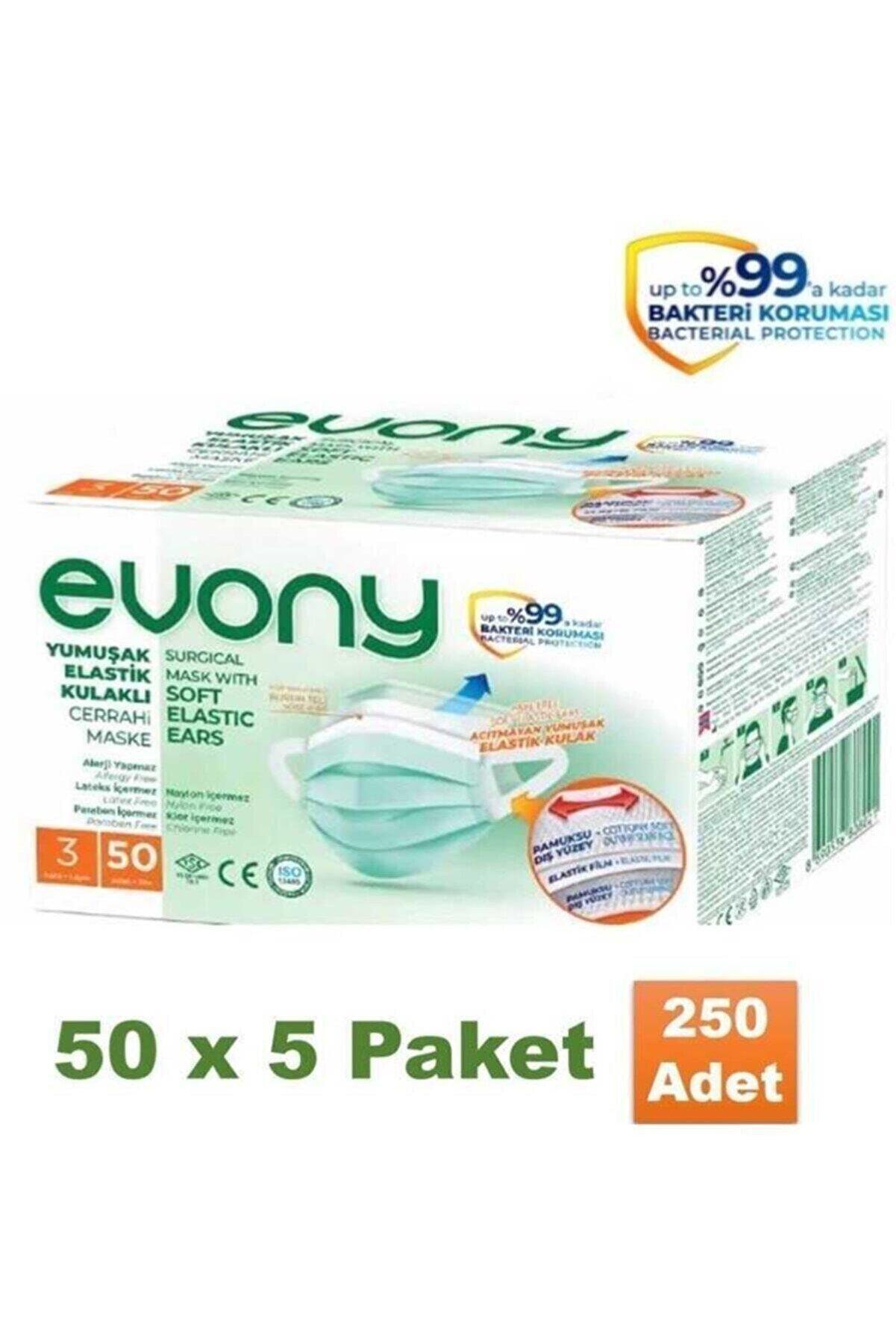Evony 3 Katlı Cerrahi Maske 50 Li 5 Paket ( 250 Adet )