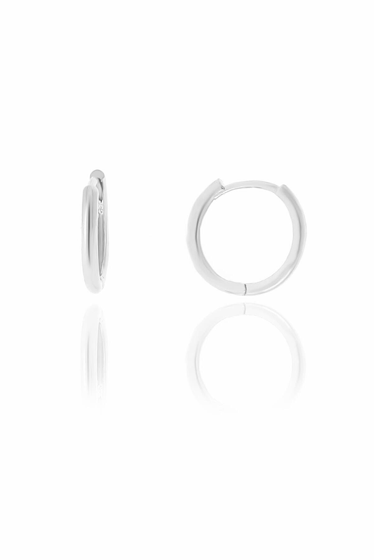 Söğütlü Silver Gümüş Rodyumlu 14 Mm Halka Küpe
