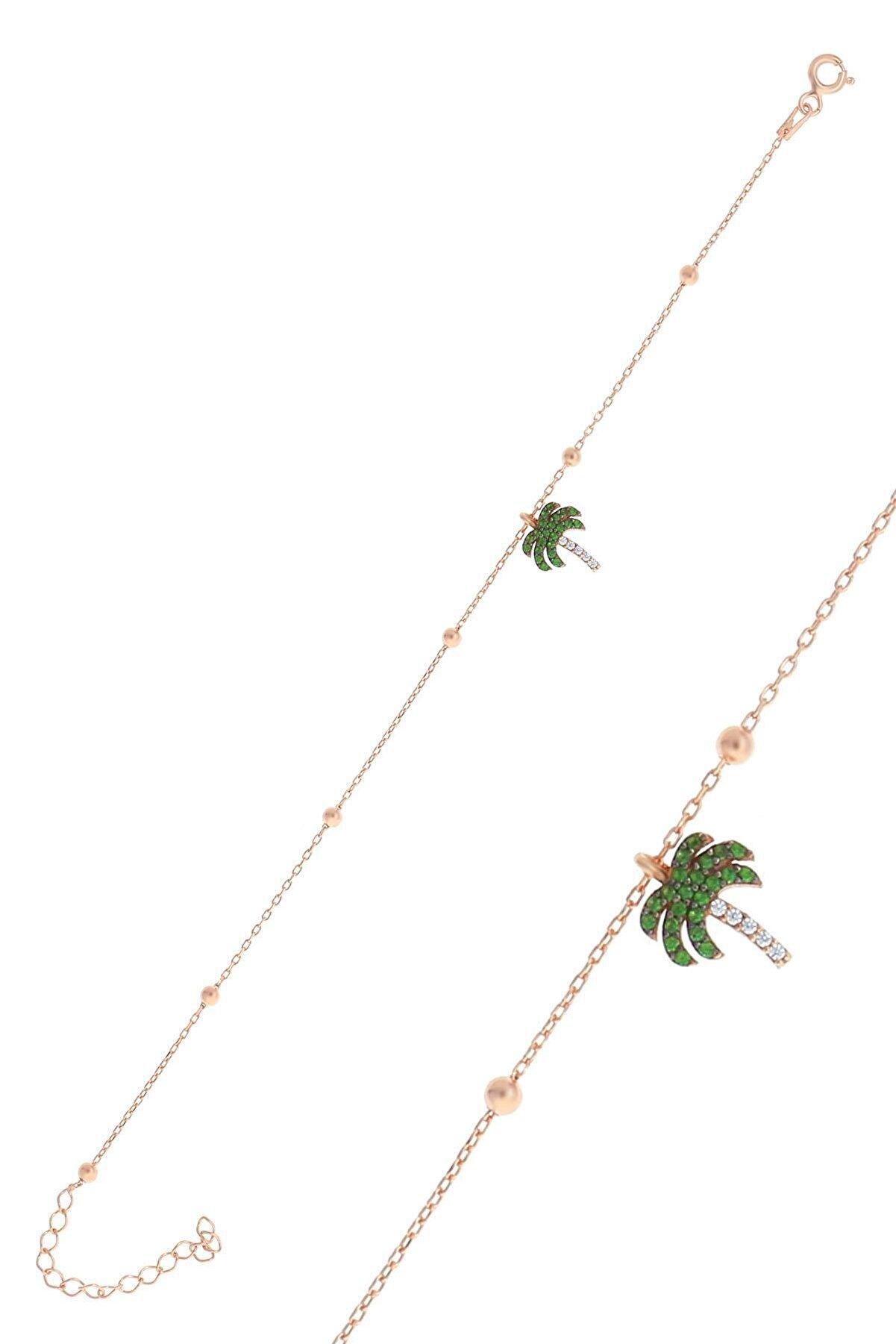 Söğütlü Silver Gümüş Rose Top Top Zincirli Palmiye Bileklik
