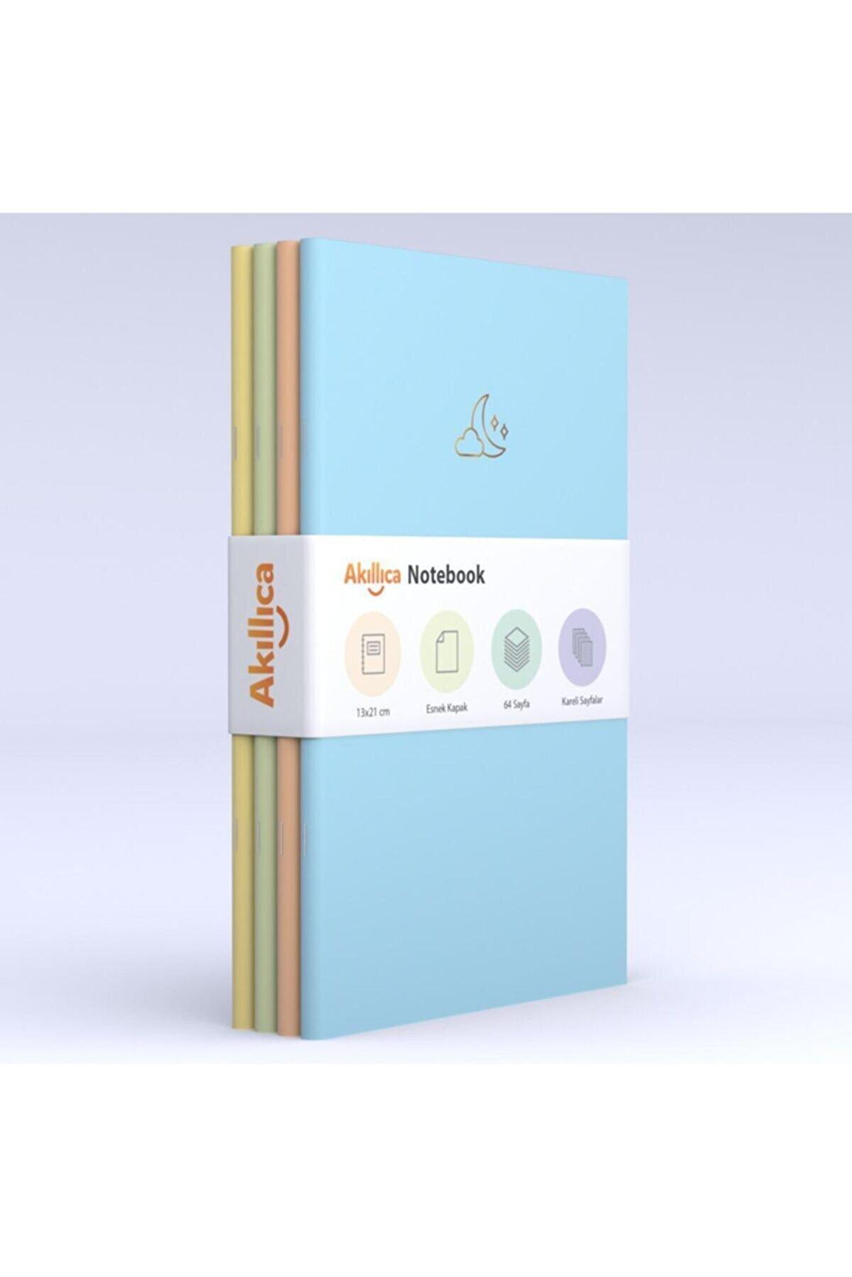AKILLICA Notebook 4'lü Defter Set Kareli Soft Pastel Notebook 13,5x21 Cm