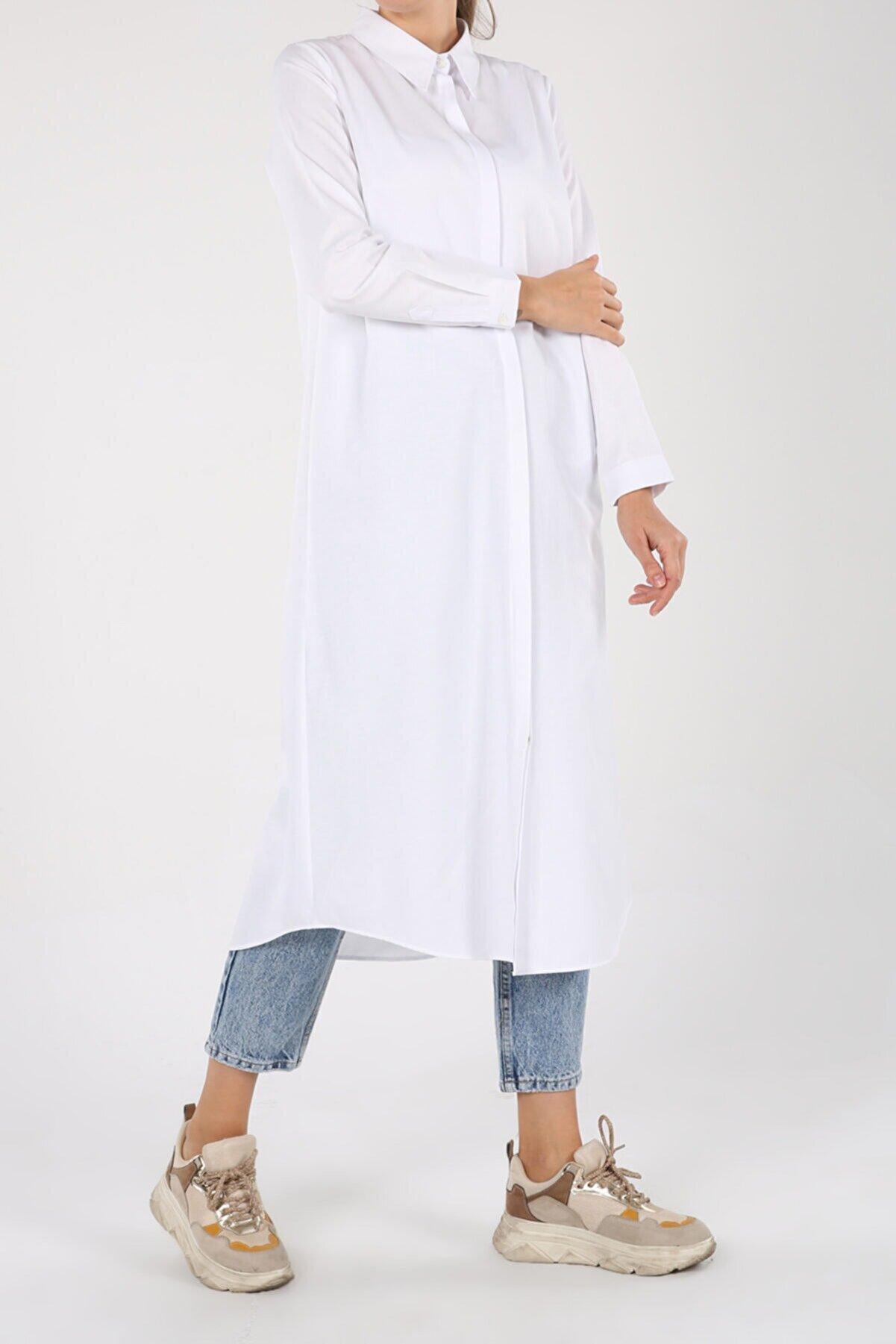 ALLDAY Kadın Beyaz Pamuklu Uzun Tesettür Gömlek