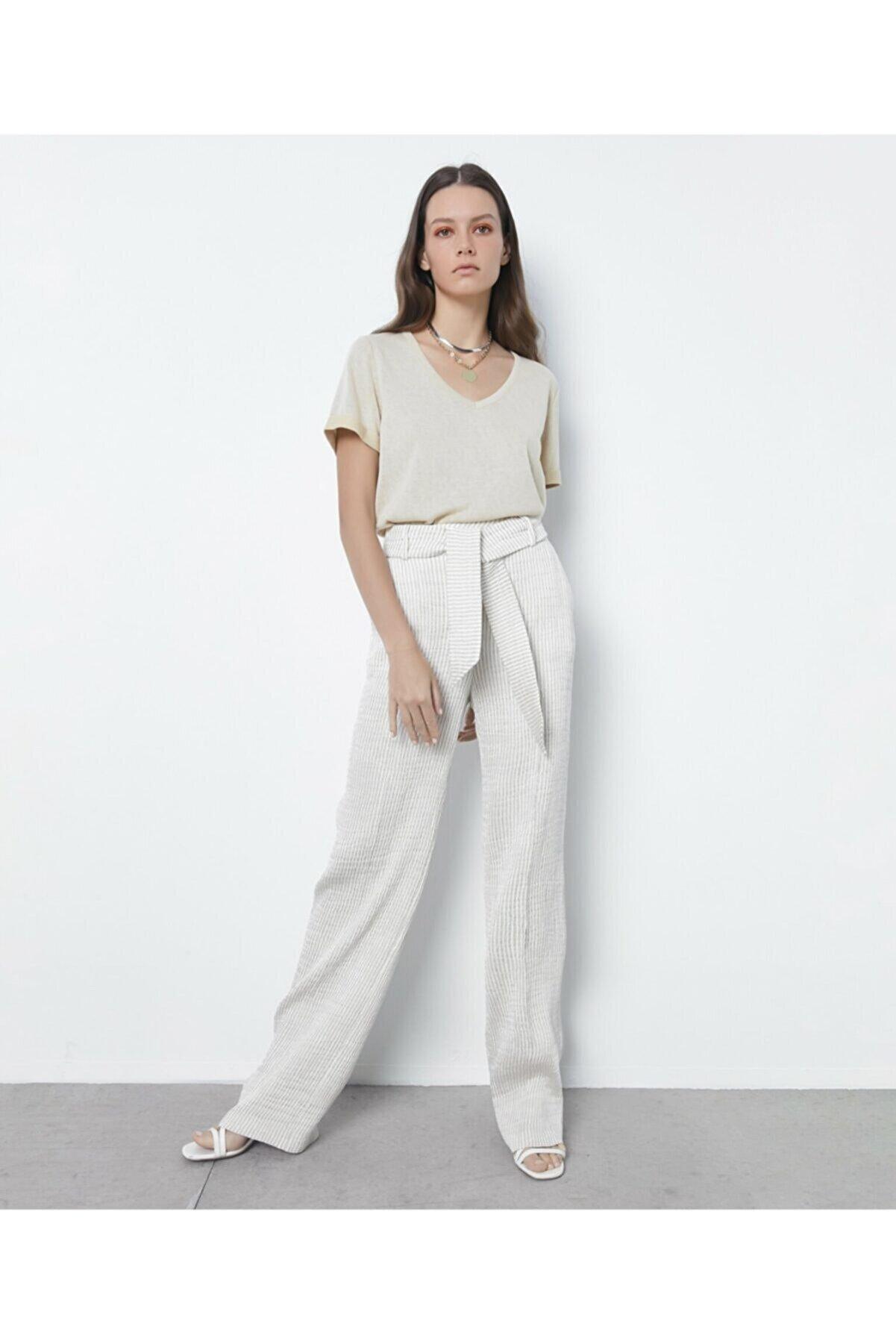 İpekyol Kadın Bej Çizgili Pantolon IS1200003162003