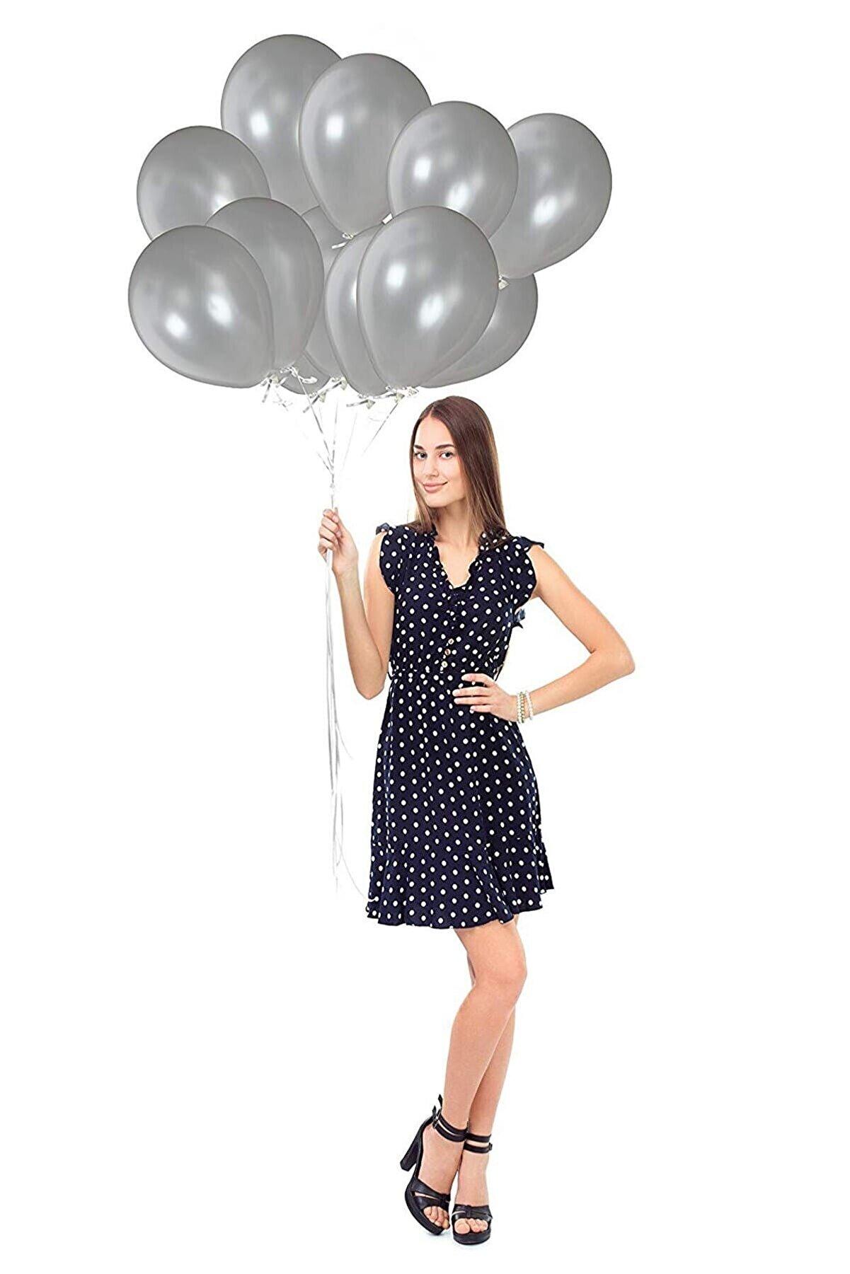 Magic Hobby Gümüş Gri Renk Metalik Balon 30 Adet ( 30'lu Paket)