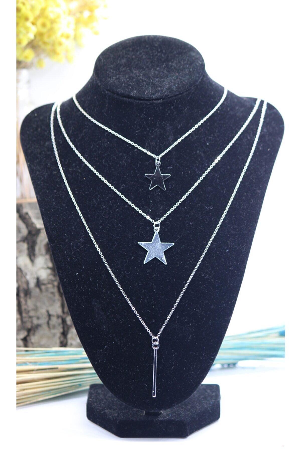 Pisi Butik Kadın  Gümüş Yıldızlı Set Kolye
