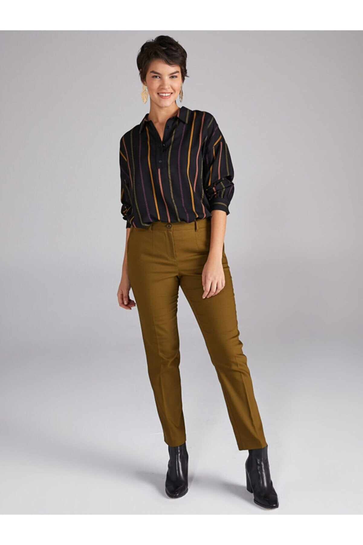 Faik Sönmez Kadın Yeşil Straight Fit Chino Pantolon 61061