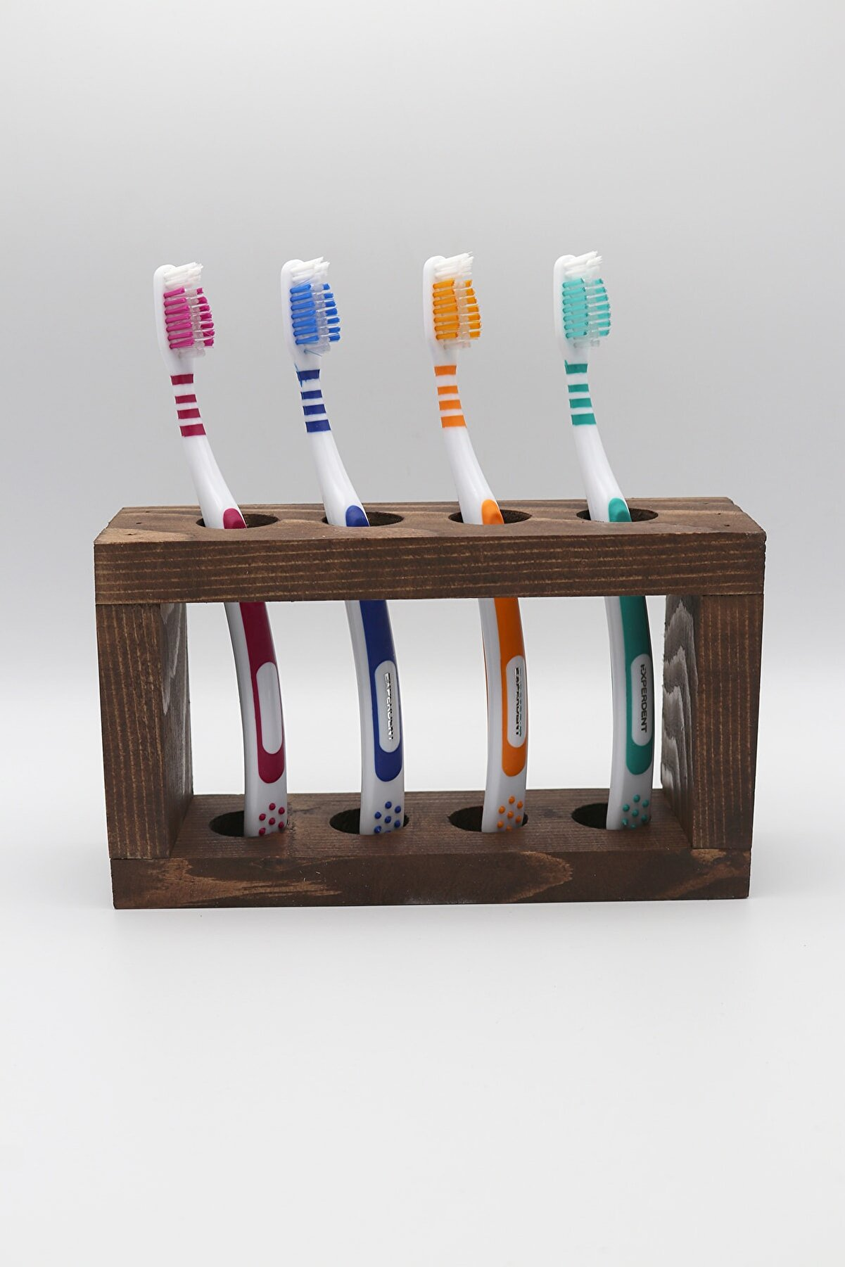 BRN STORE Ahşap Diş Fırçalık Diş Fırçası Standı 4 Bölmeli Diş Fırçalığı