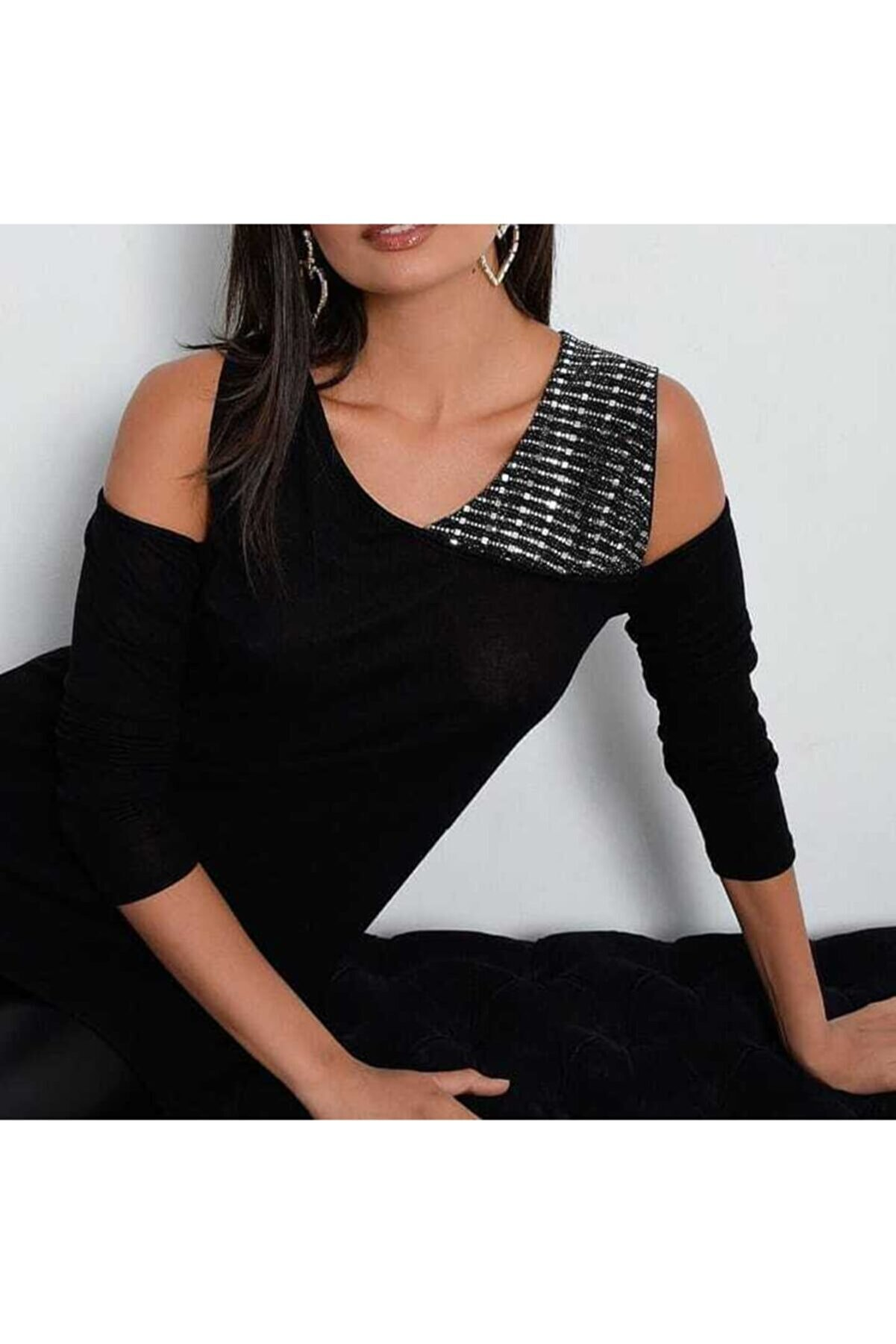 JANES Kadın Siyah Taş Detay Bluz