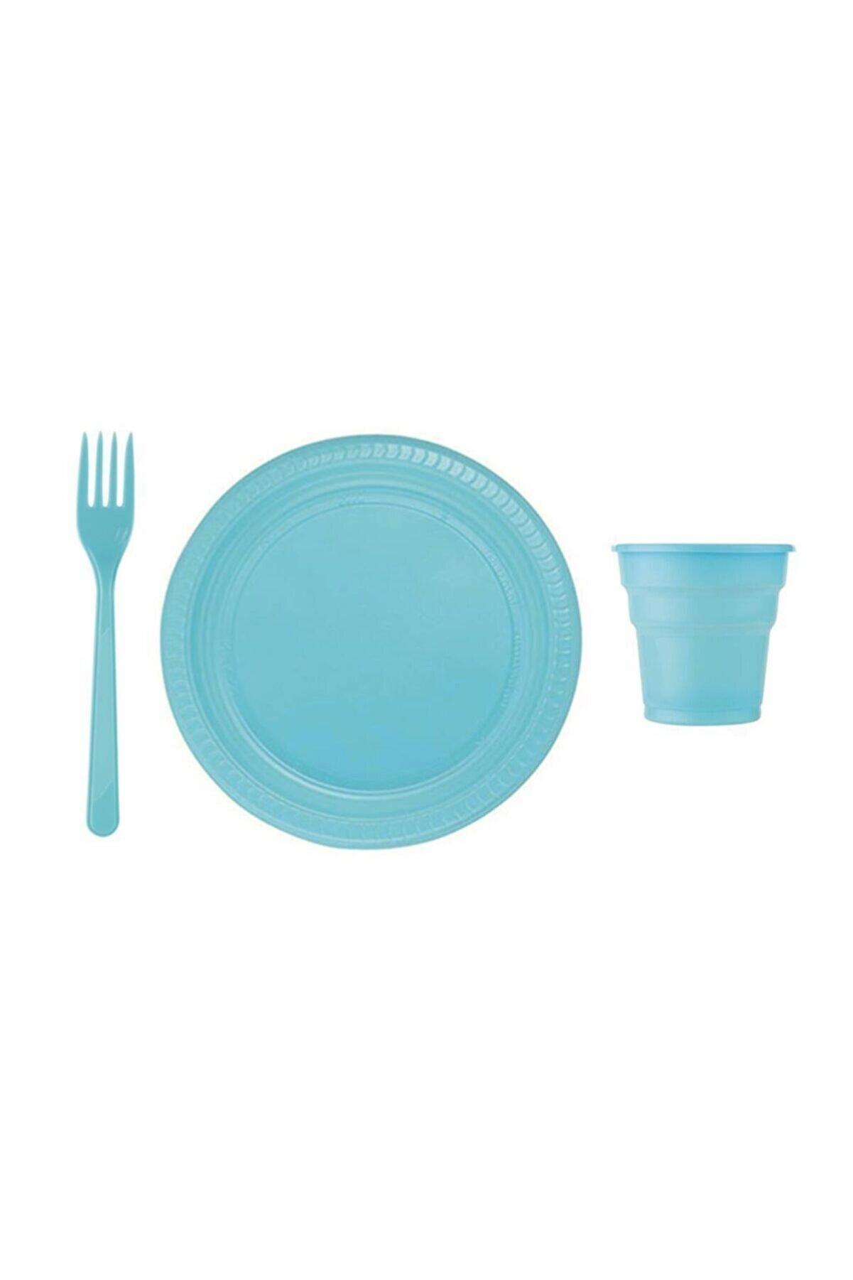 ÇELİKPENÇE 25 Kişilik Mavi Lüx Plastik Tabak, Bardak, Çatal Seti