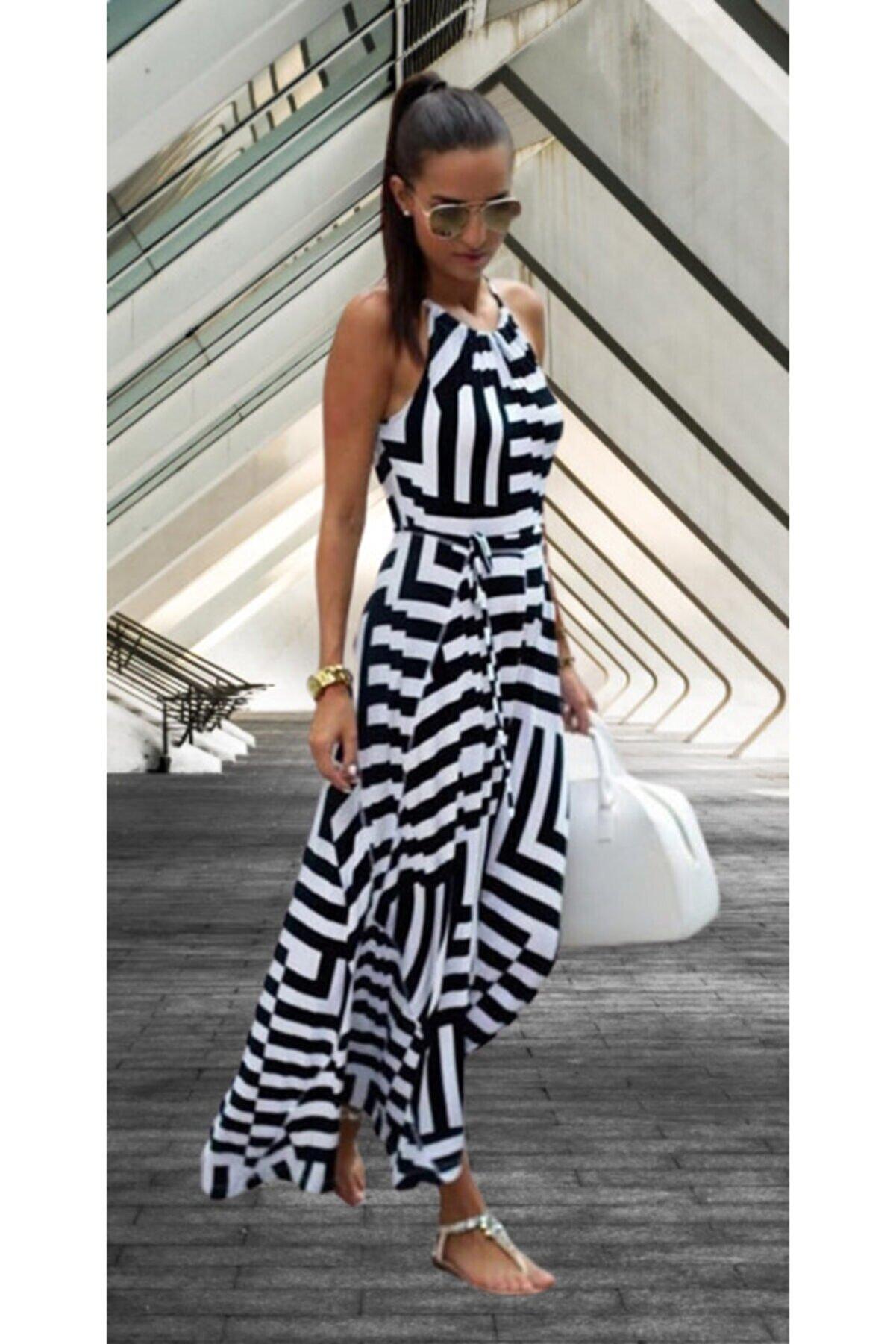 lovebox Siyah Beyaz Günlük Uzun Krep Kumaş Elbise