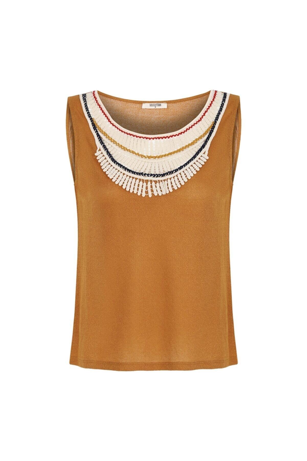 Mudo Kadın Kahverengi Dantelli Kolsuz Bluz 1217801