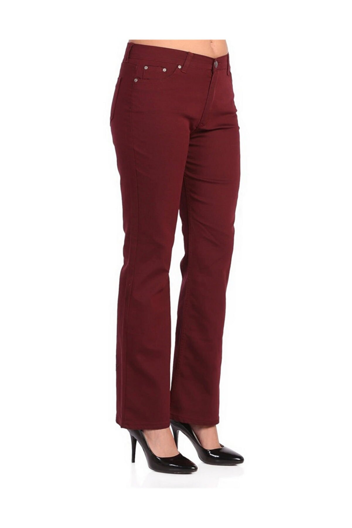 Rmg Kadın Bordo Kumaş Yüksek Bel İspanyol Paça Pantolon Rg1221pv