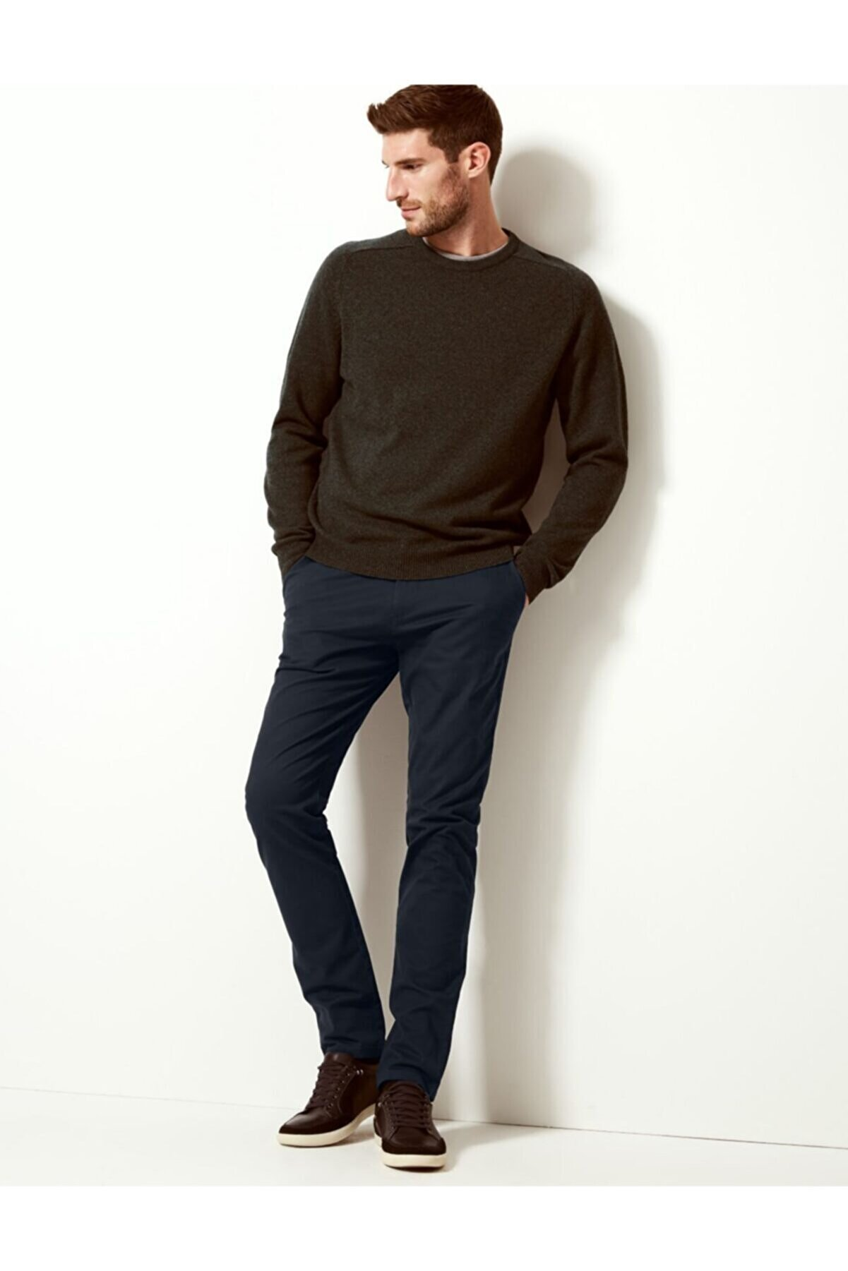 Marks & Spencer Erkek Lacivert Slim Fit Chino Pantolon T17006601S