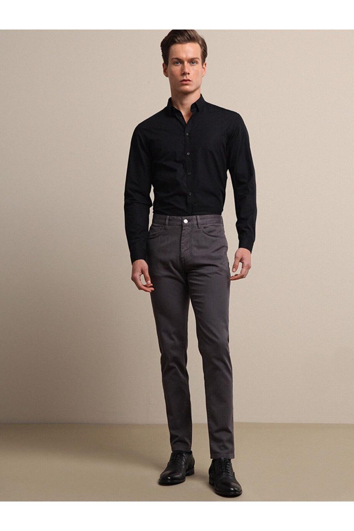 Kip Erkek Gri Dokuma Pantolon