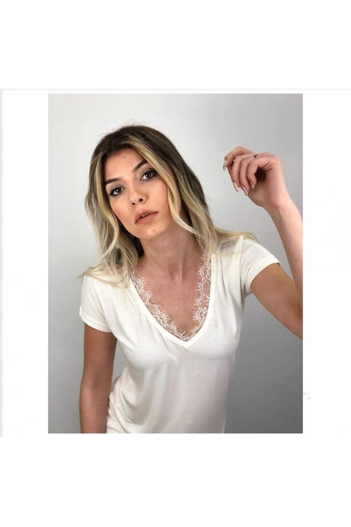 BRK Plus Basic V Yaka Dantelli Tişört