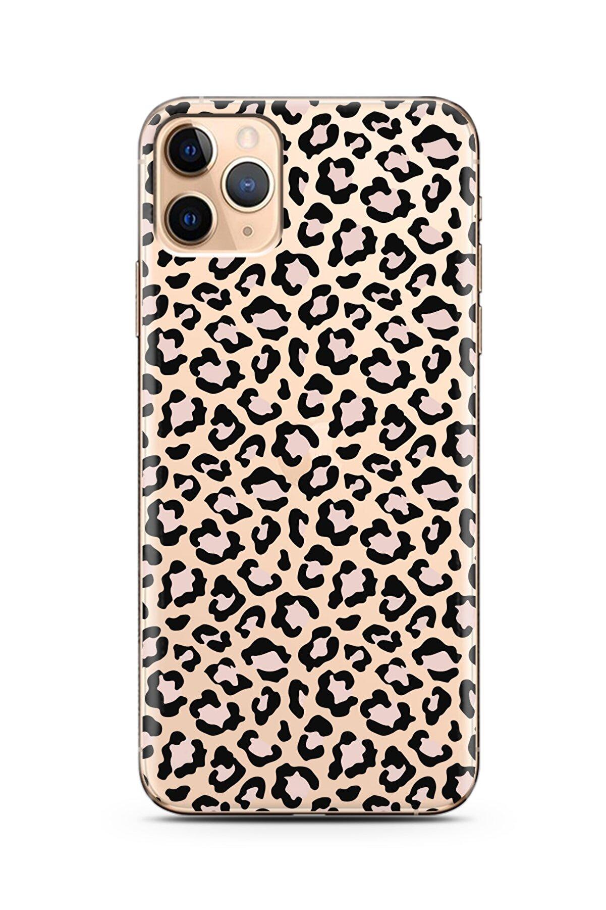 Spoyi Leopar Tasarımlı Süper Şeffaf Silikon Iphone 11 Pro Max Telefon Kılıfı