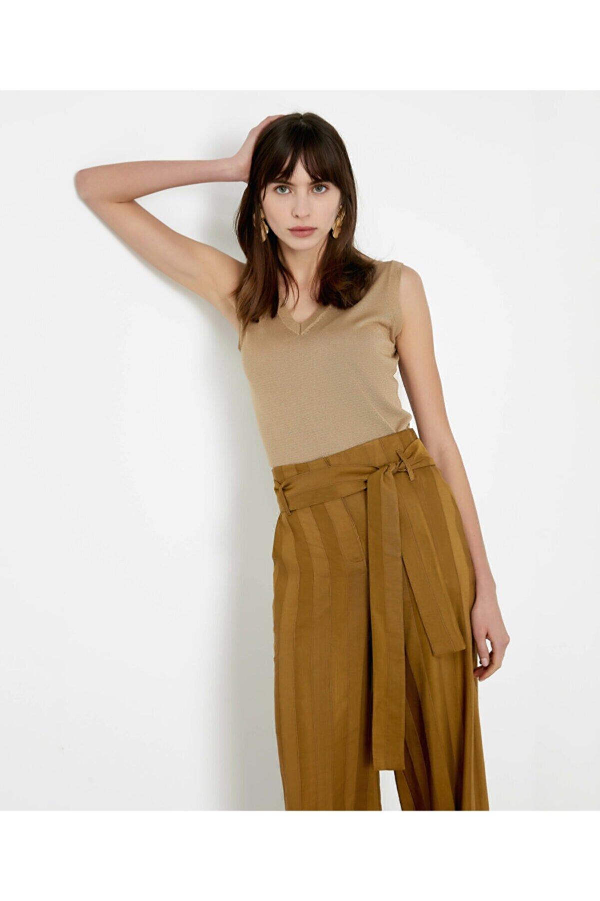 İpekyol Kadın Haki Kuşaklı Yüksek Bel Pantolon
