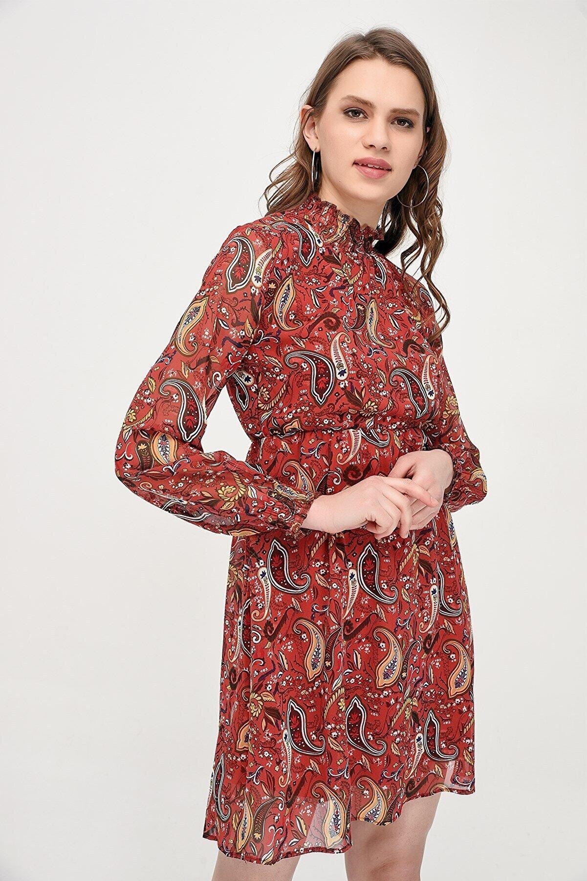 Cotton Mood 9071471 Şifon Şal Desenli Yakası Kolu Gipeli Elbise Bordo