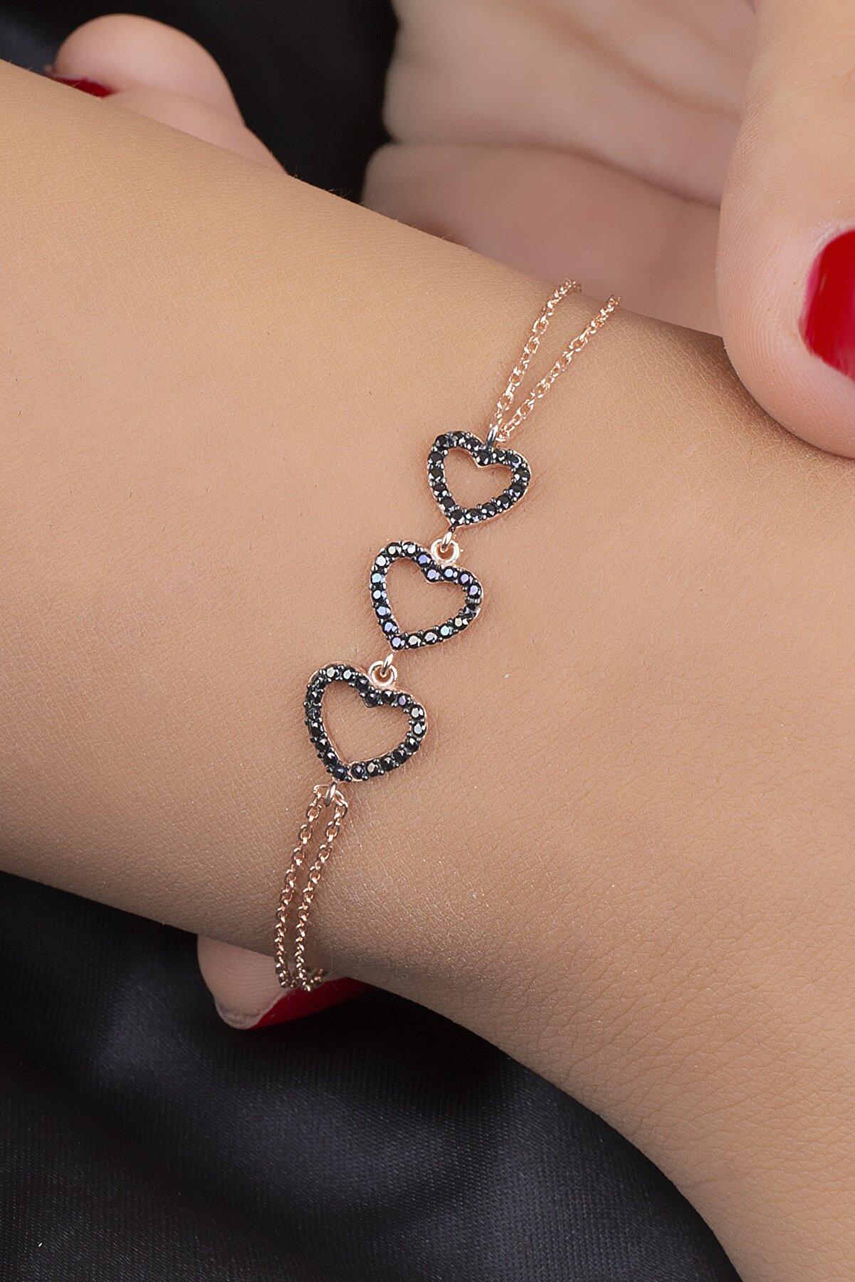 Diversity Jewelry Kadın Gümüş Zirkon Taşlı Rose Kalp Bileklik