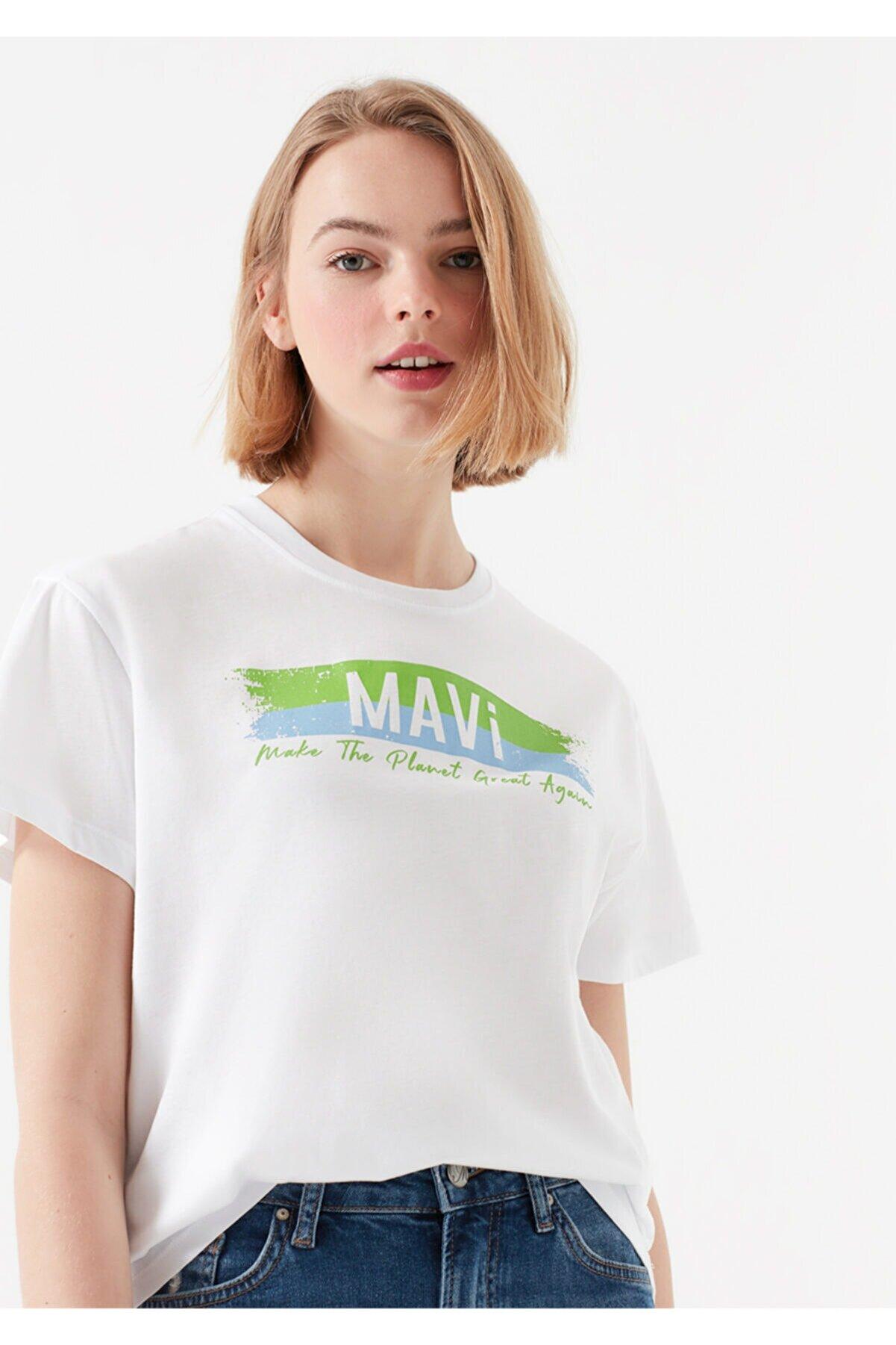 Mavi Kadın Beyaz Doğa Dostu Make The Planet Great Again Baskılı T-Shirt