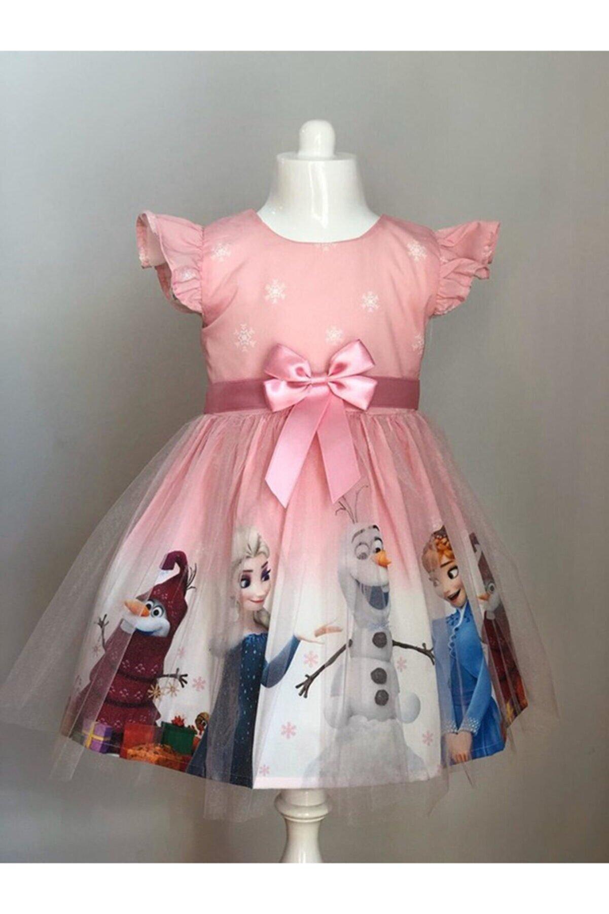 Pumpido Kız Çocuk Elsa Frozen Pembe Kostüm