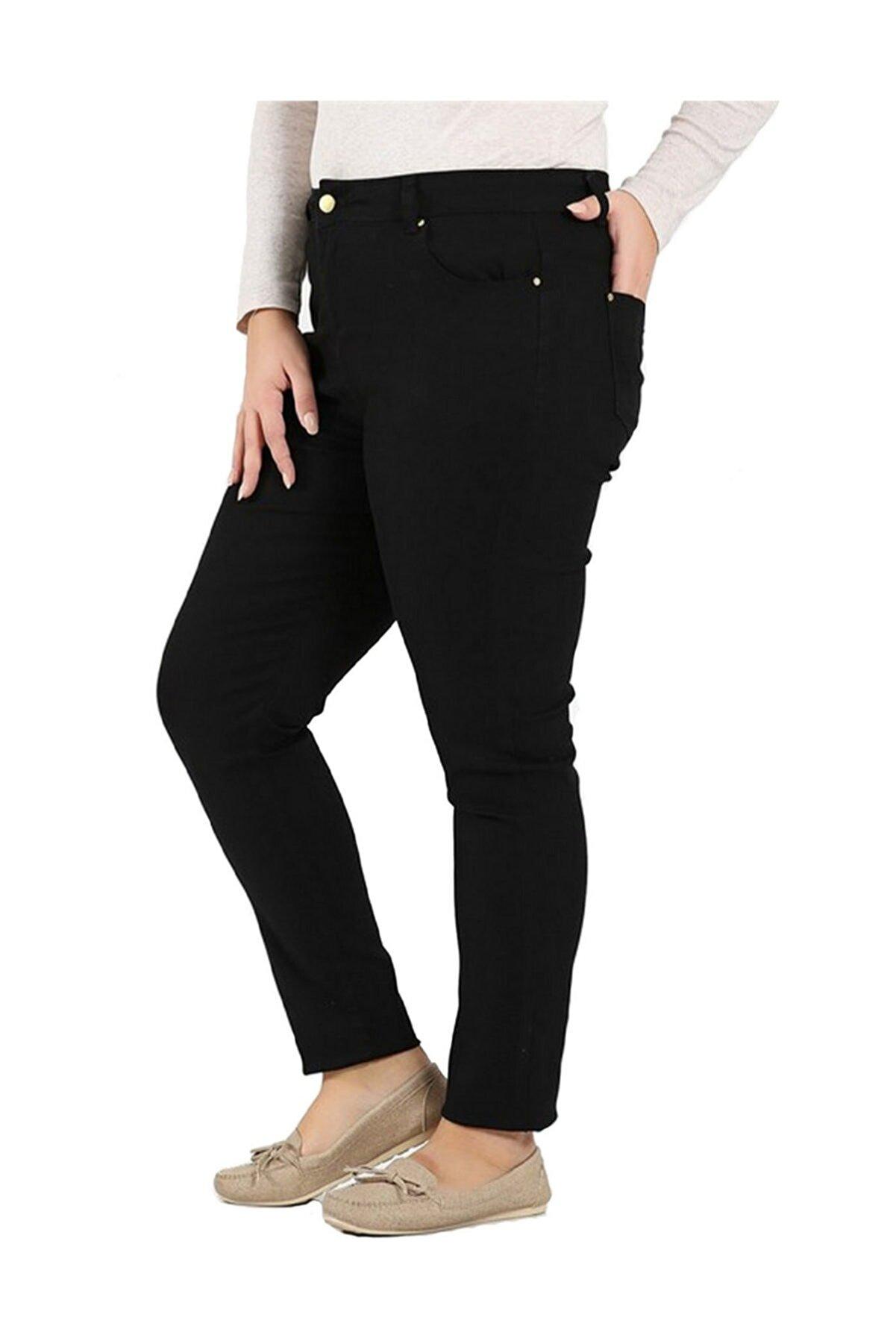Günay Kadın Siyah Kanvas Yüksek Bel Dar Paça Pantolon Rg1251p