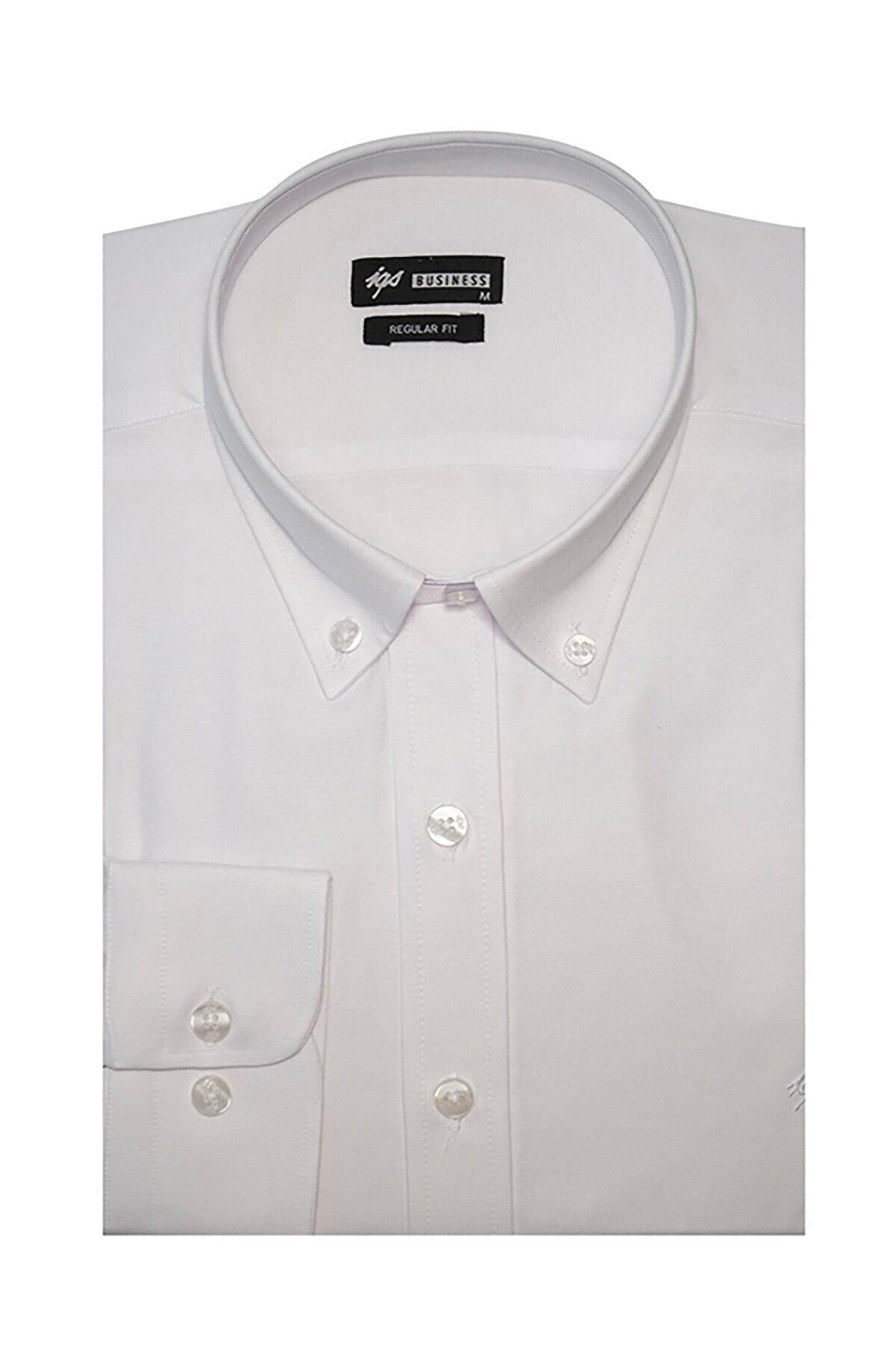 İgs Erkek Beyaz Regular Fit Klasik Gömlek