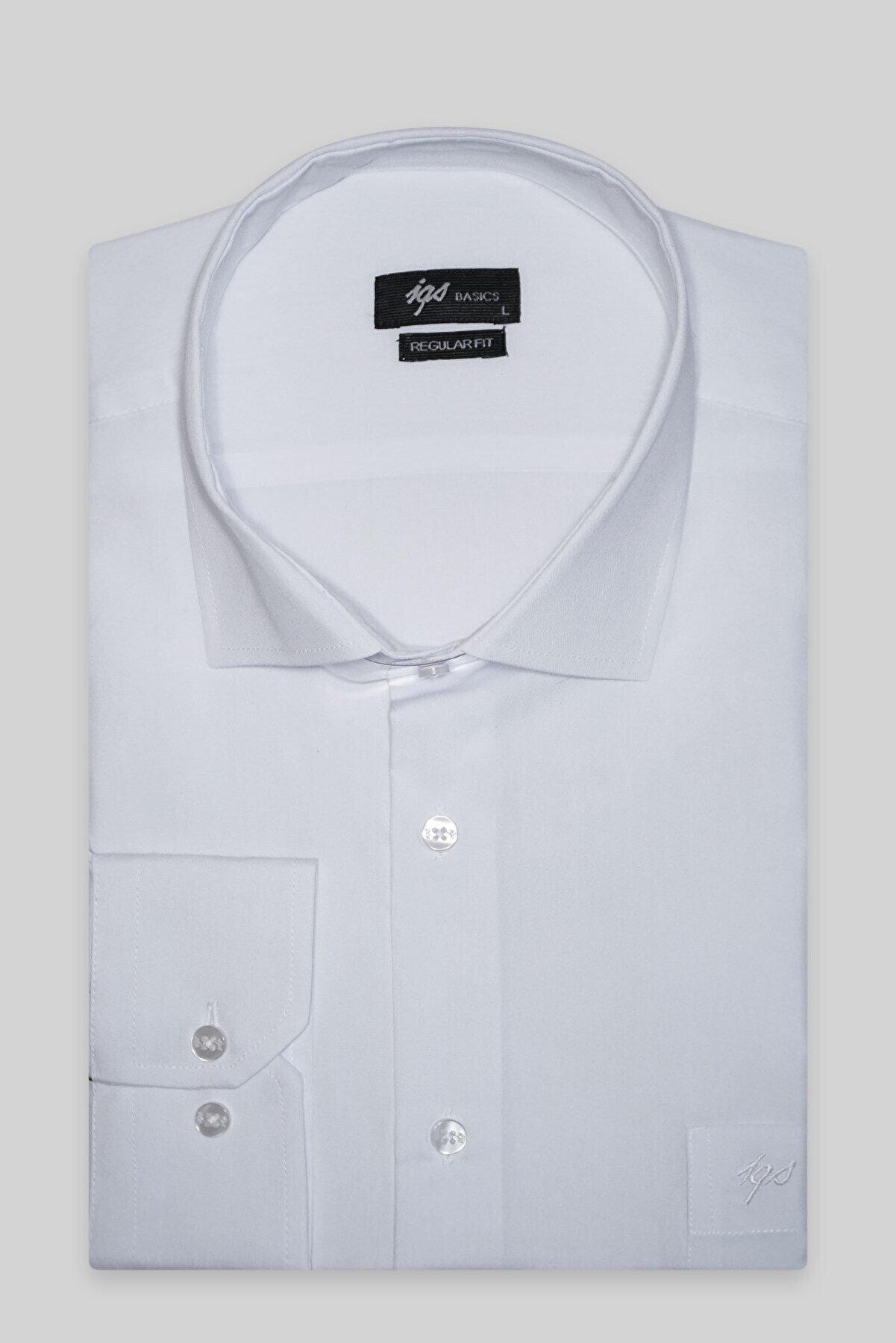 İgs Erkek Beyaz Regularfıt  Rahat Kalıp  Klasik Gömlek