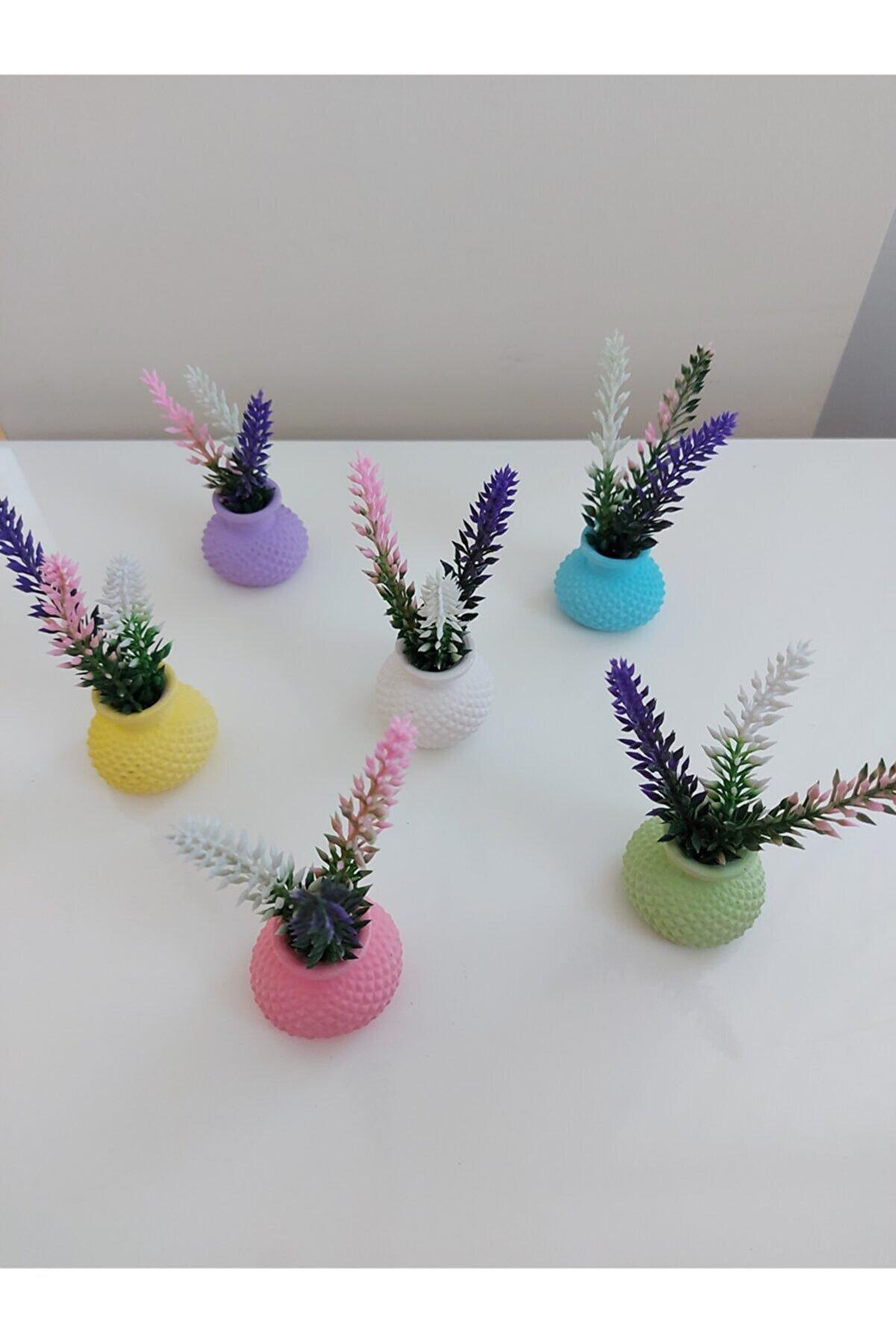 Günay Hediyelik Eşya Renkli Mini Vazo Lavanta Çiçekli 6 Lı Takım
