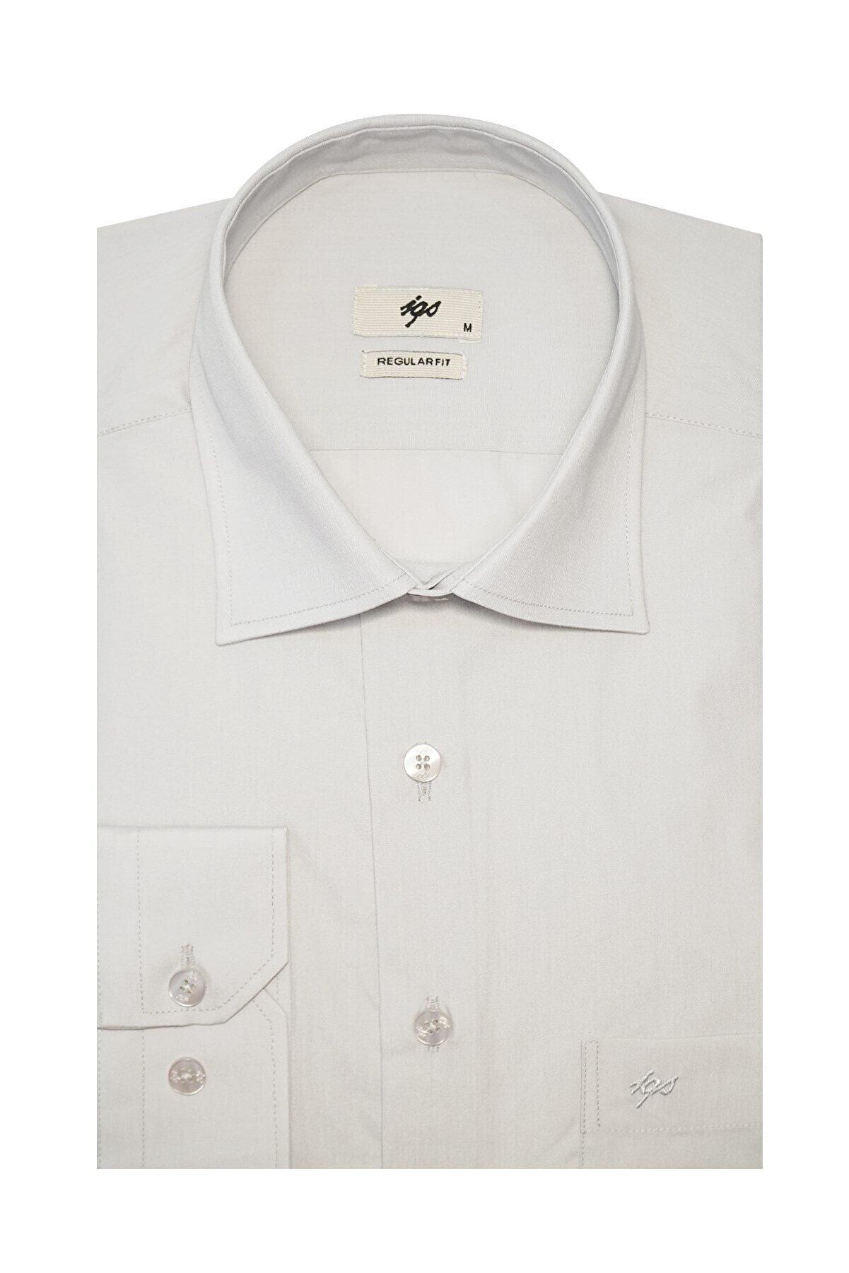 İgs Erkek Açık Gri Regular Fit Gömlek