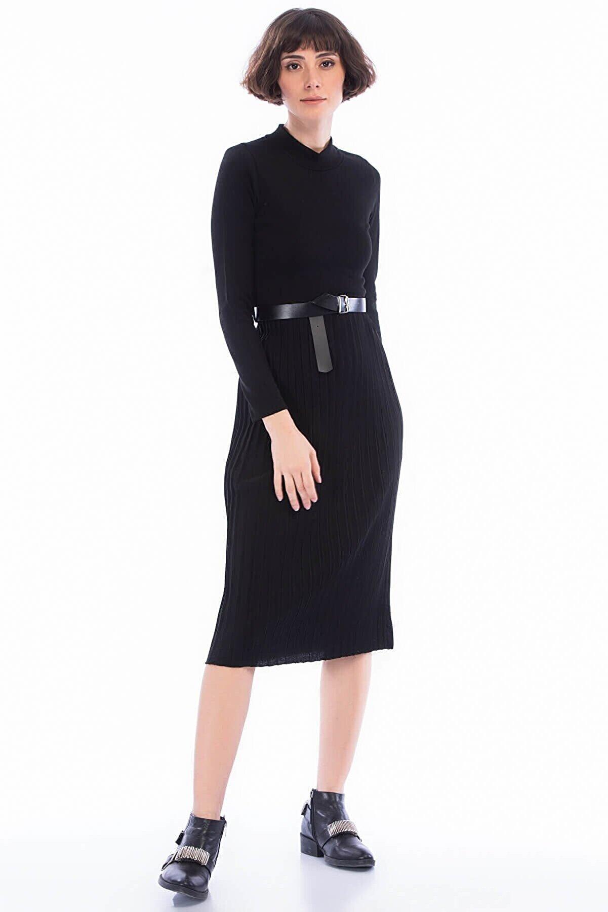 Cotton Mood 8451048 Akrilik Eteği Pliseli Yarım Balıkçı Elbise Sıyah
