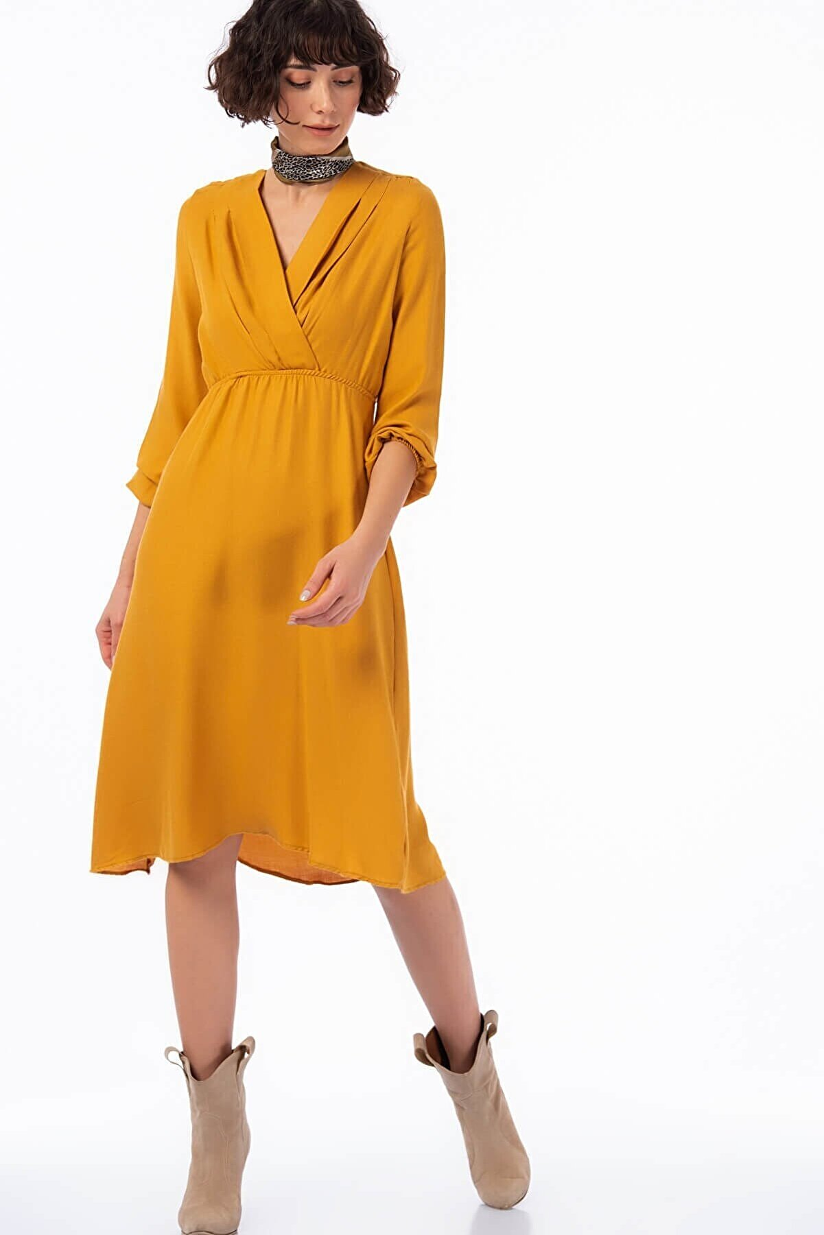 Cotton Mood Kadın Hardal Yün Viskon Şardon Beli Lasikli Kruvaze Yaka Pileli Elbise 8422424