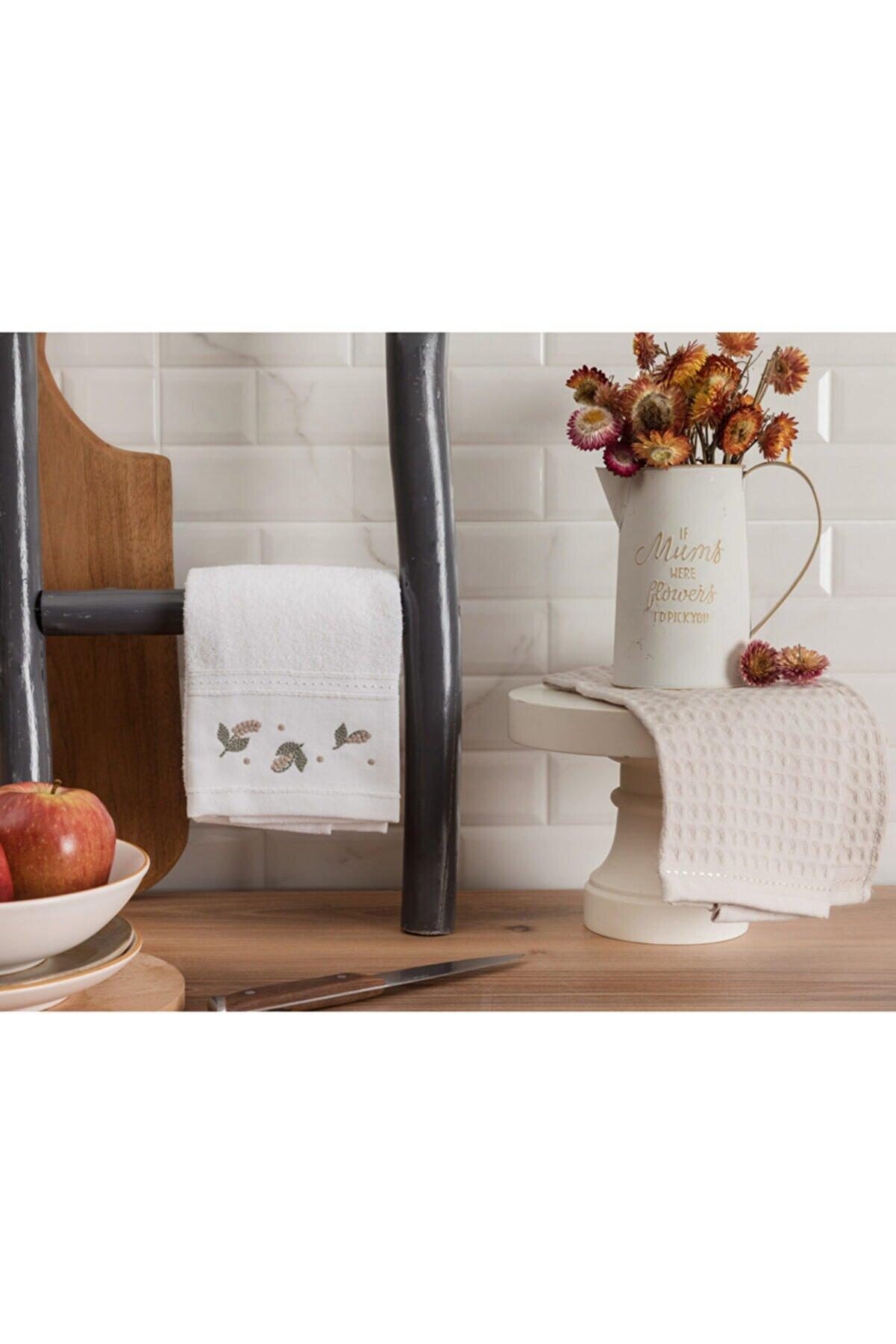 Madame Coco Garland Mutfak Havlu Seti - Beyaz / Bej - 40x60 Cm