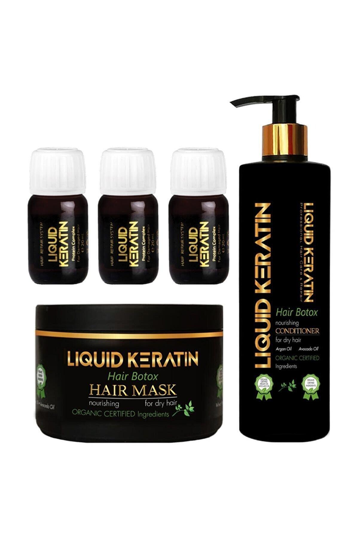 Liquid Keratin Yıpranmış Saçlara Bakım Onarıcı Full Set (kremli)