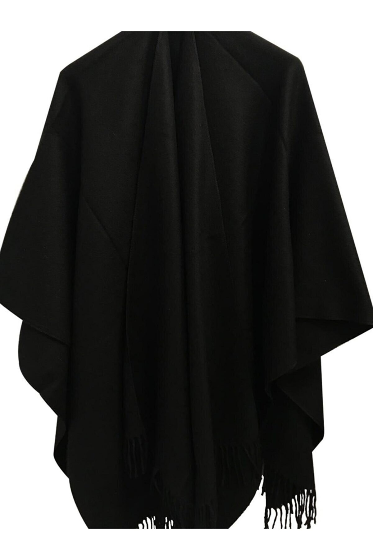 KARADAŞ Kadın Siyah Düz Panço