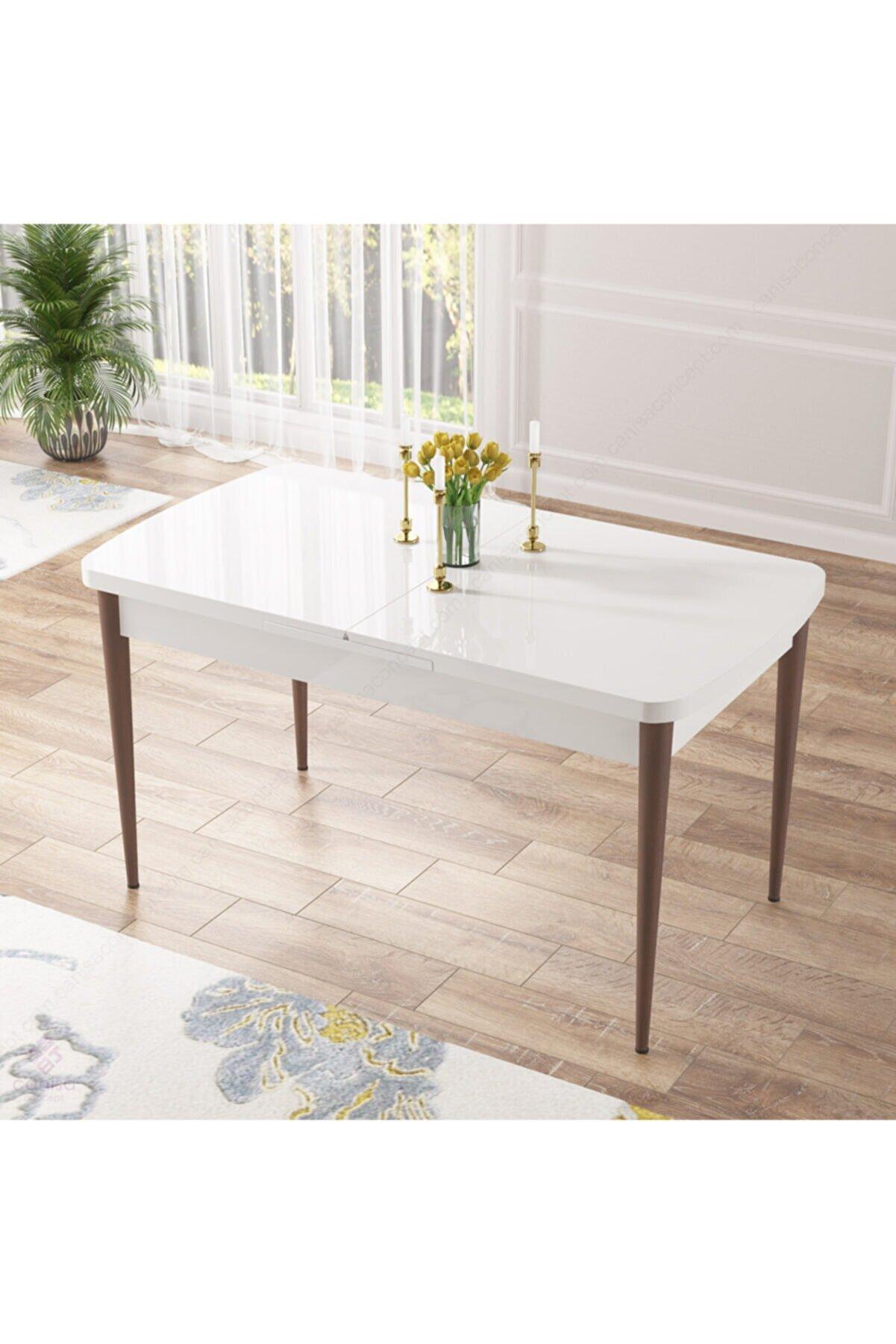 Canisa Concept Beyaz Mdf ,Ahşap Ceviz Ayaklı Açılabilir Üst Kalite Mutfak Masası
