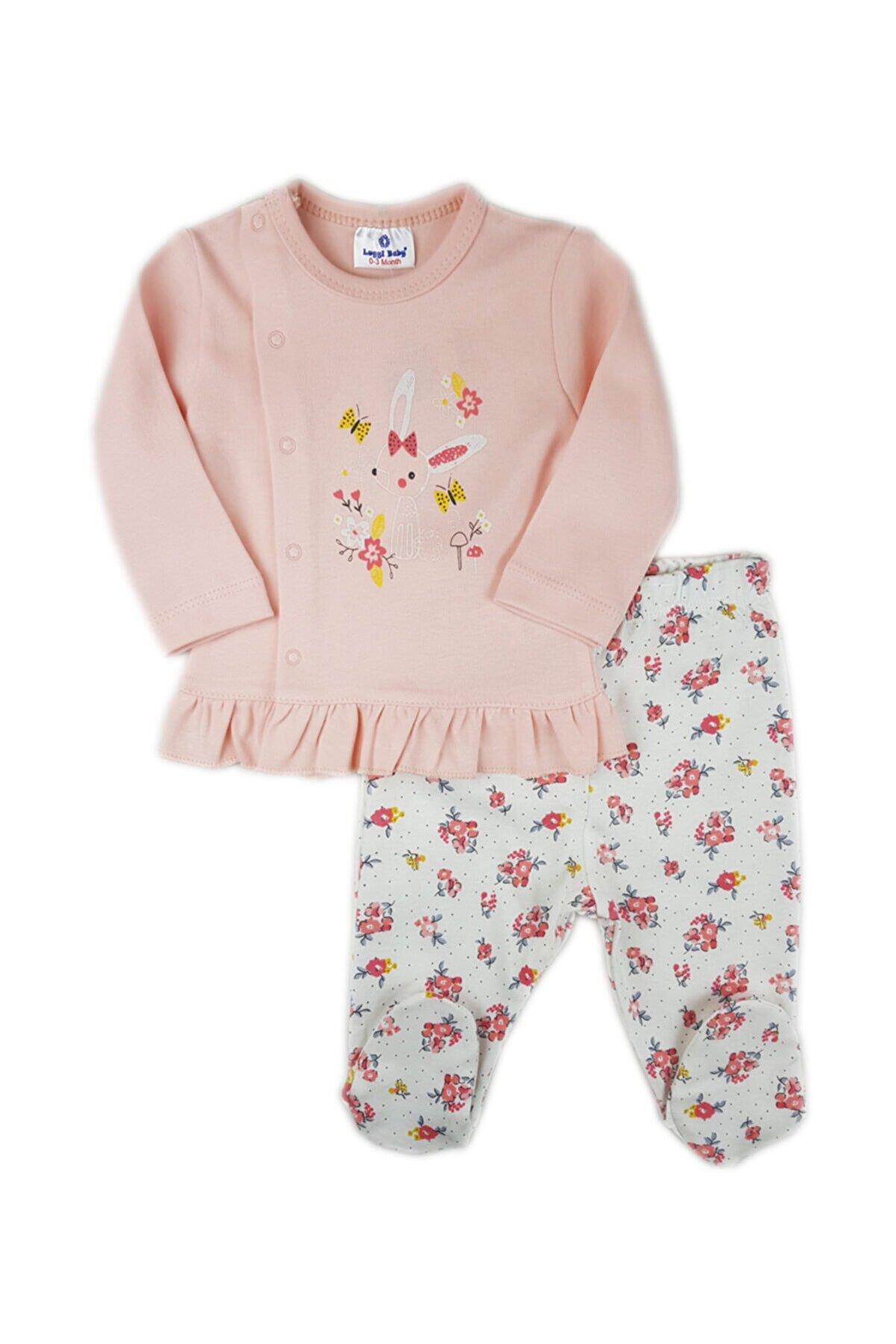 Luggi Baby Kız Bebek Ekru Fırfırlı Çiçekli Patikli Pijama Takımı
