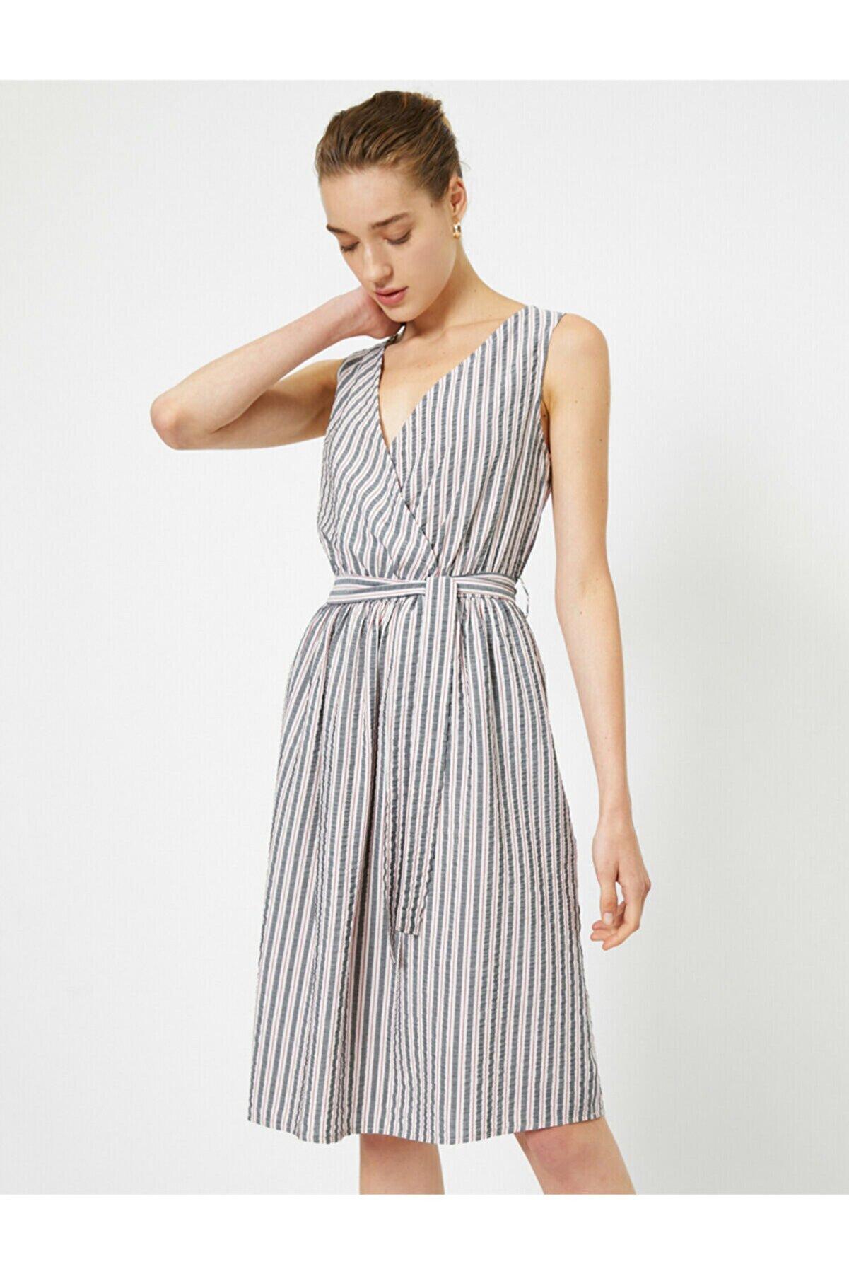 Koton Çizgili Anvelop Elbise