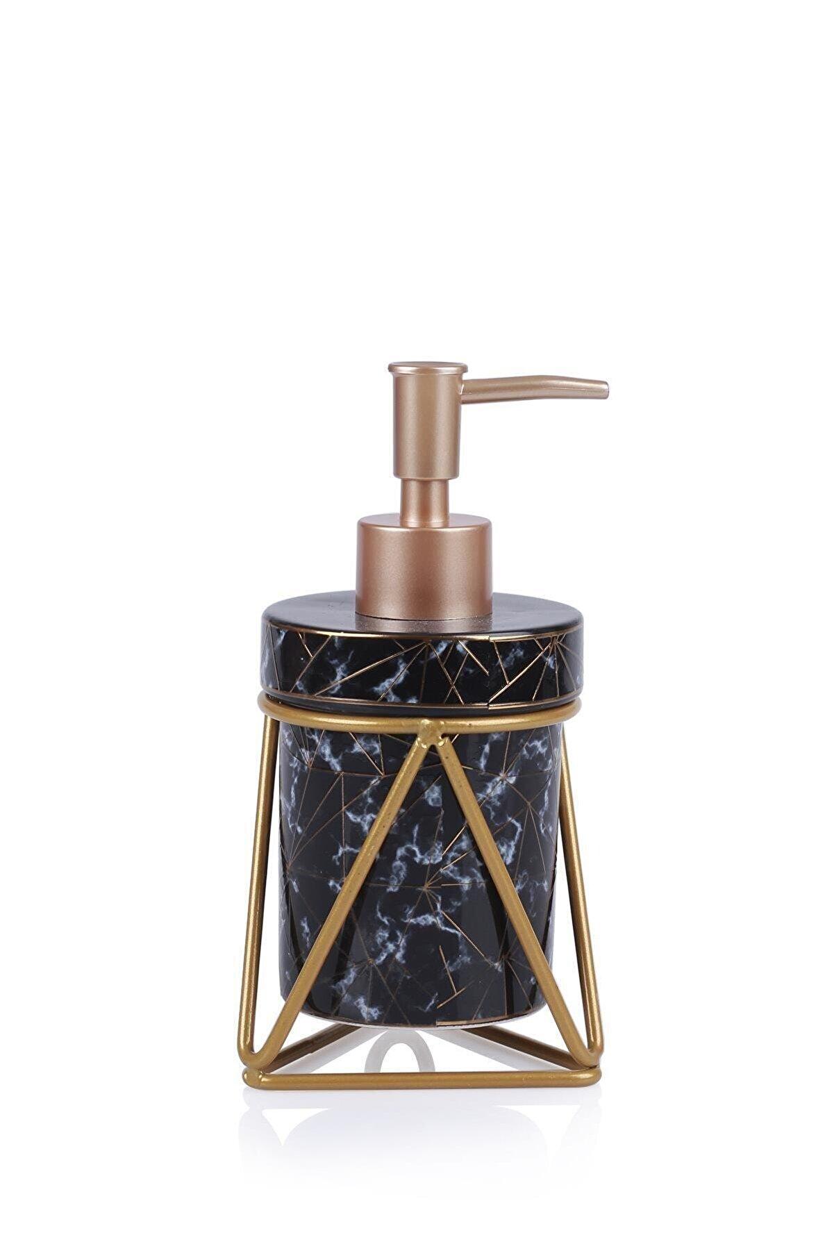 ACAR Josie Seramik Oval Metal Standlı Sıvı Sabunluk - Siyah