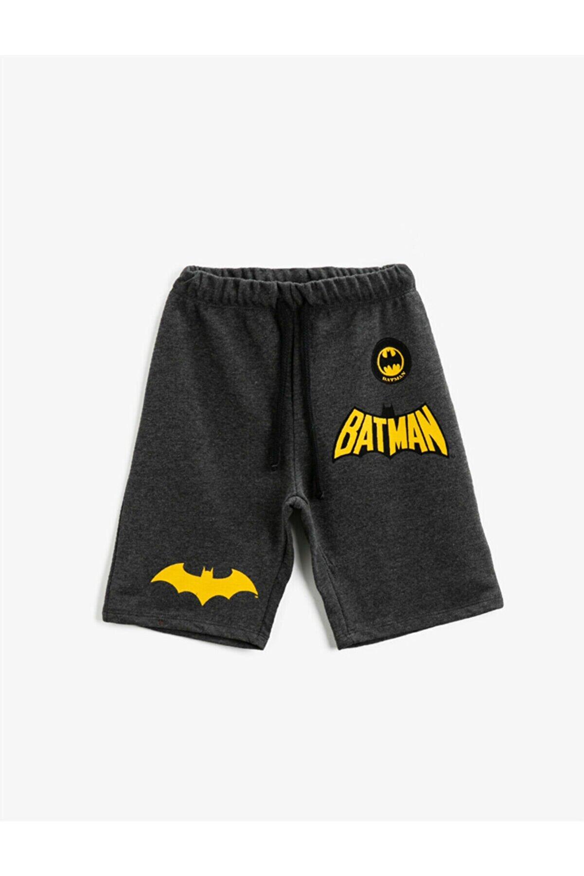 Koton Erkek Çocuk Gri Batman Şort Lisanslı Baskılı