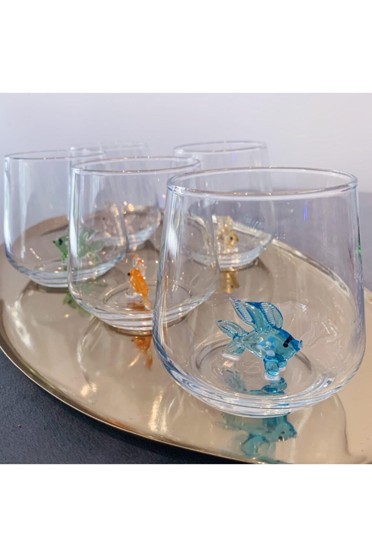 Minizooistanbul El Yapımı Cam Balıklı 6'lı Su Bardağı Seti