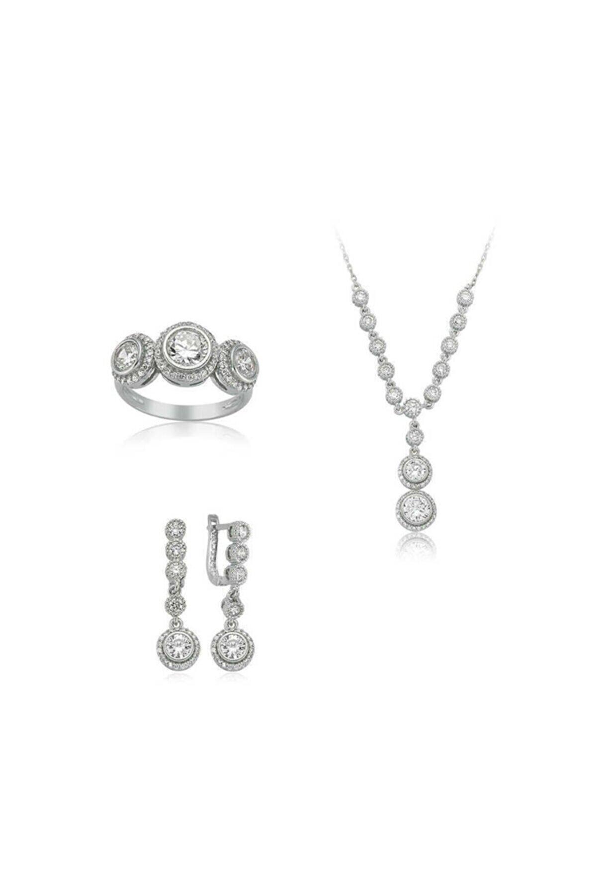 Armagano Gümüş Beyaz Taşlı Su Yolu Kadın Set