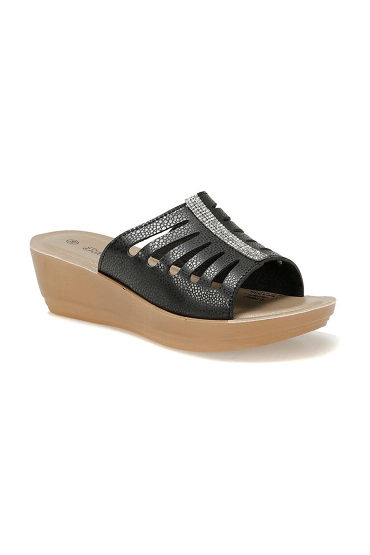 Polaris 91.150900.z Siyah Kadın Dolgu Topuklu Terlik