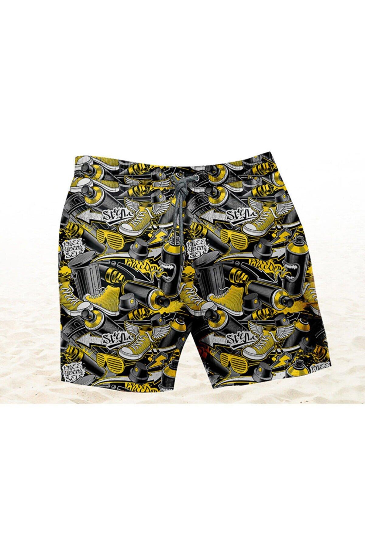 Kitti Erkek Çocuk Sarı Ayakkabı Desenli Şort (b-y2240-11)