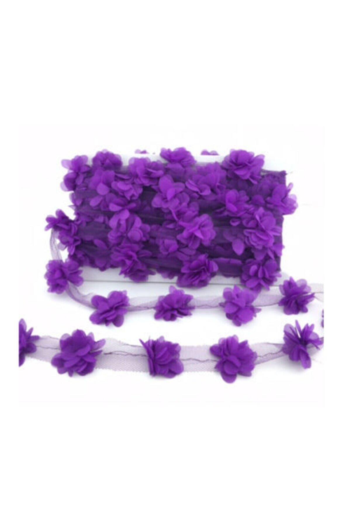 BalonEvi Mor Lazer Kesim Çiçek Tül 4 Metre