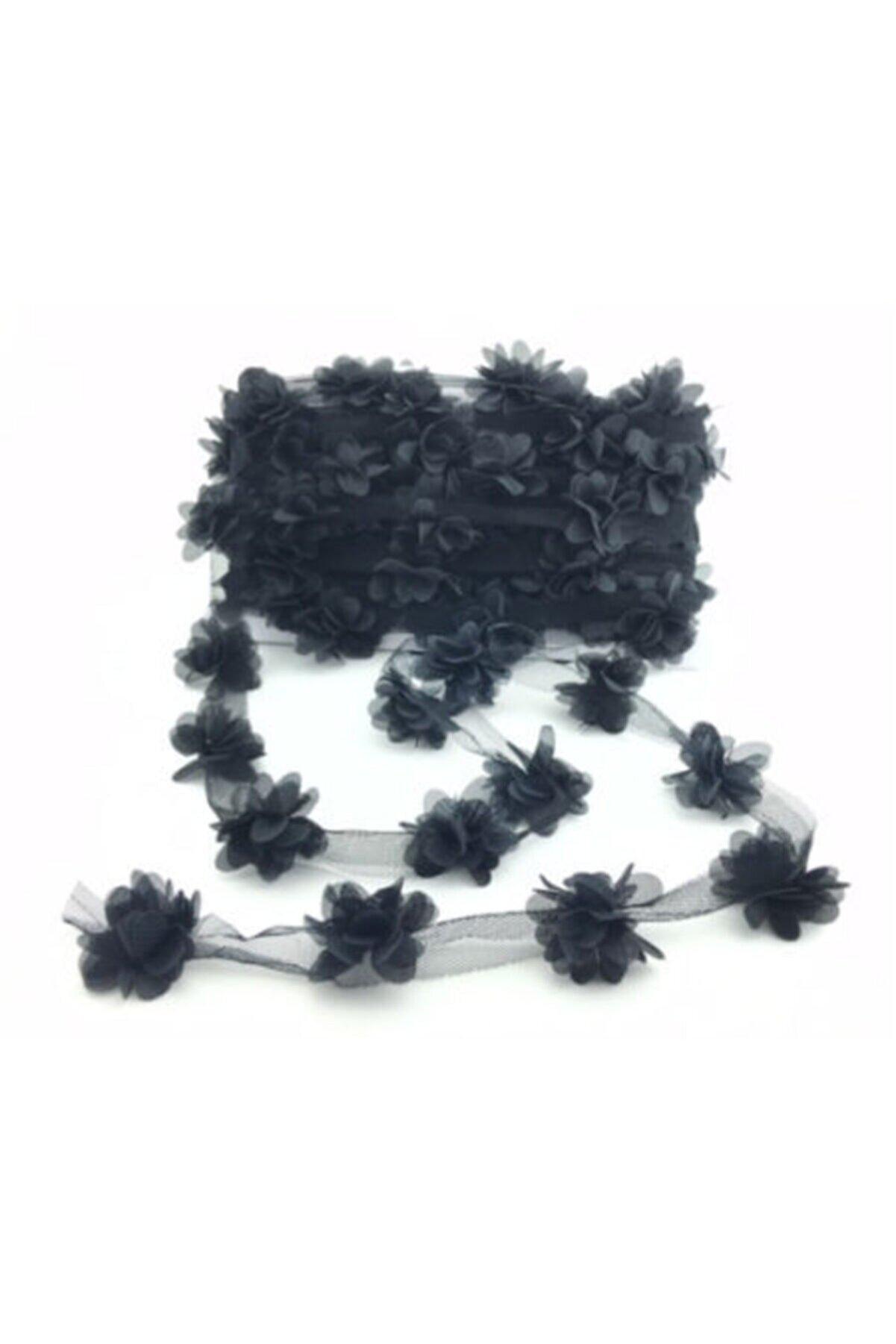 BalonEvi Siyah Lazer Kesim Çiçek Tül 5 Metre