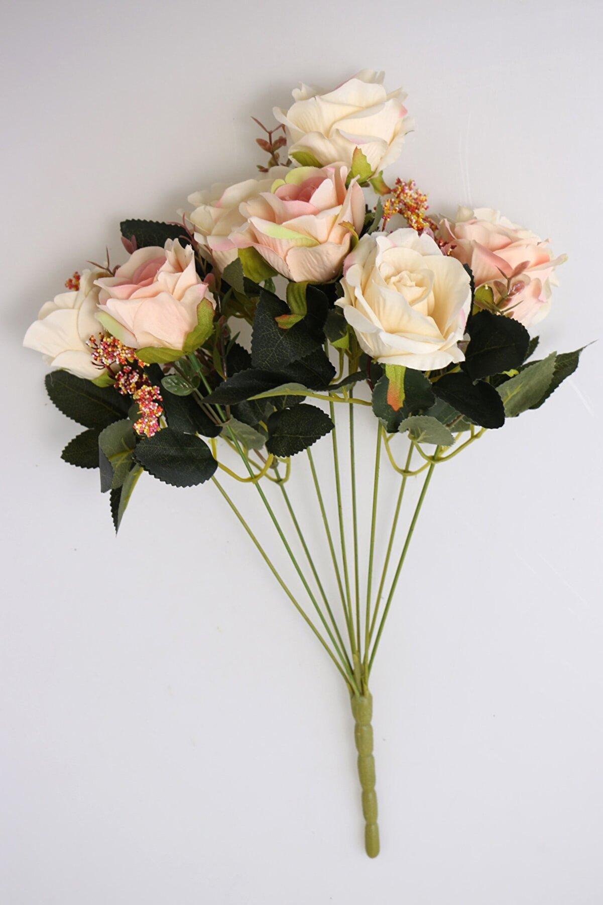 Yapay Çiçek Deposu Yapay Çiçek Açmış 9lu Gül Buketi Pudra